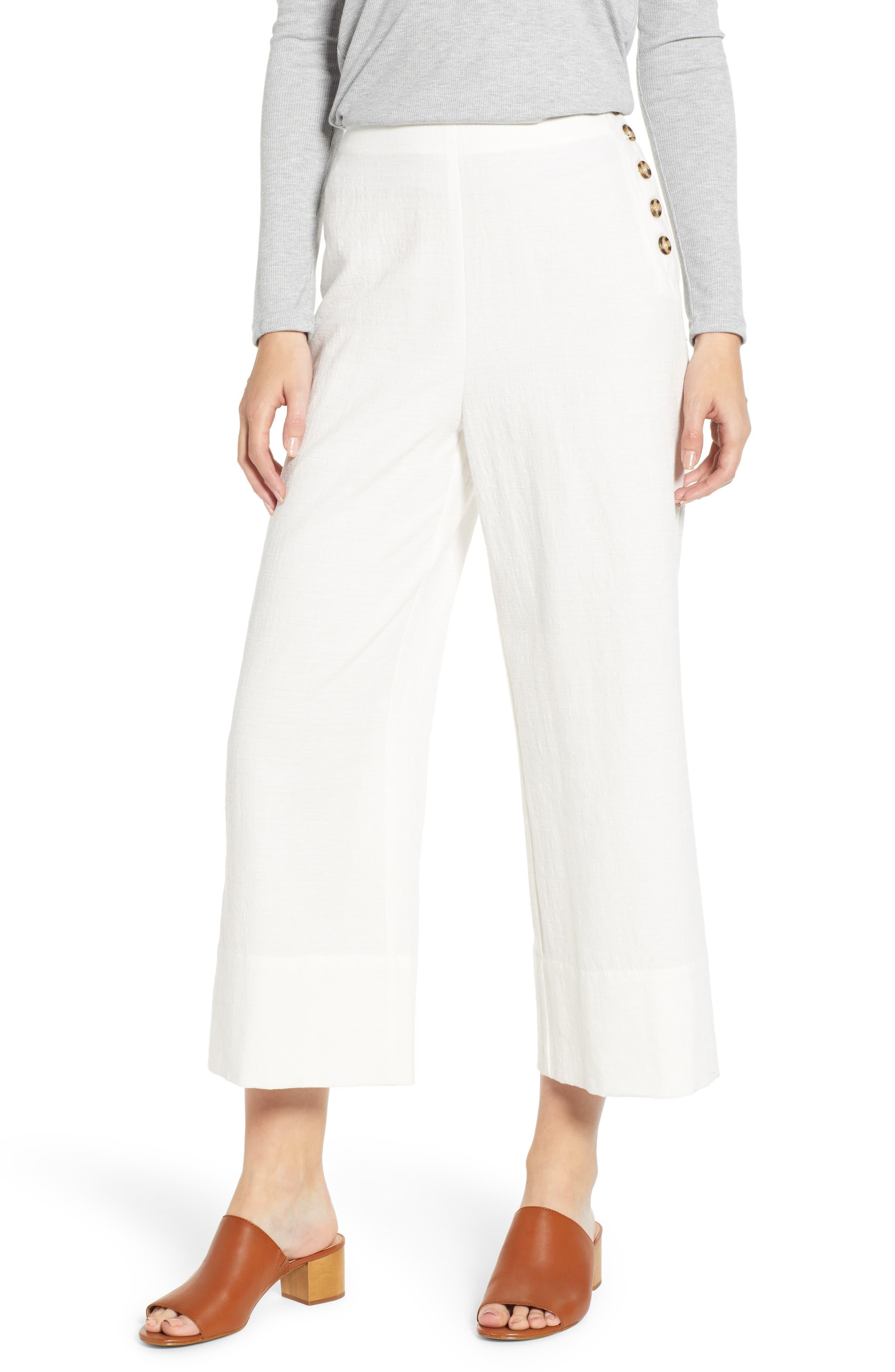 GOOD LUCK GEM Button Detail Crop Pants, Main, color, CREAM