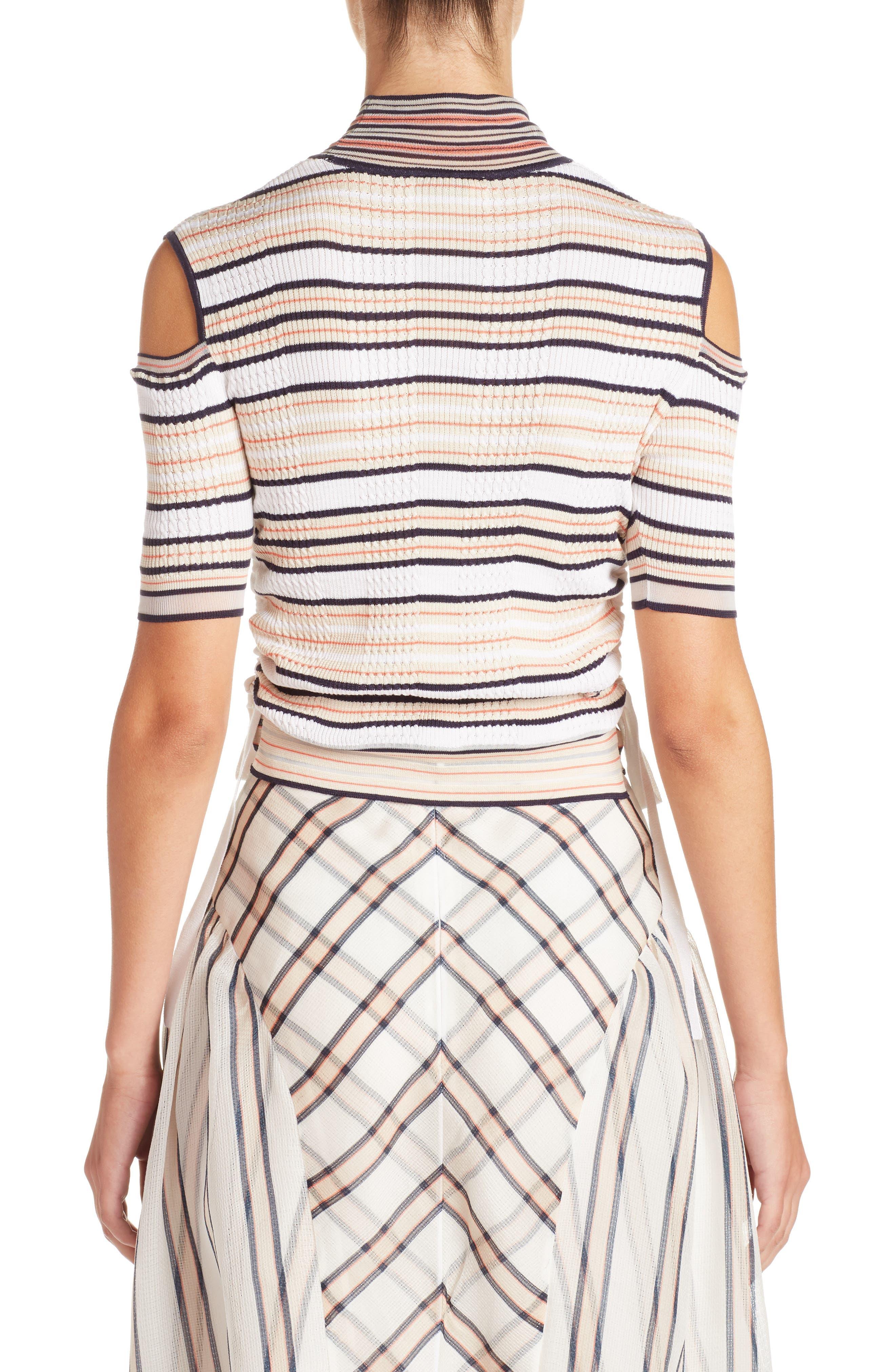Cold Shoulder Stripe Silk Blend Sweater,                             Alternate thumbnail 2, color,                             148
