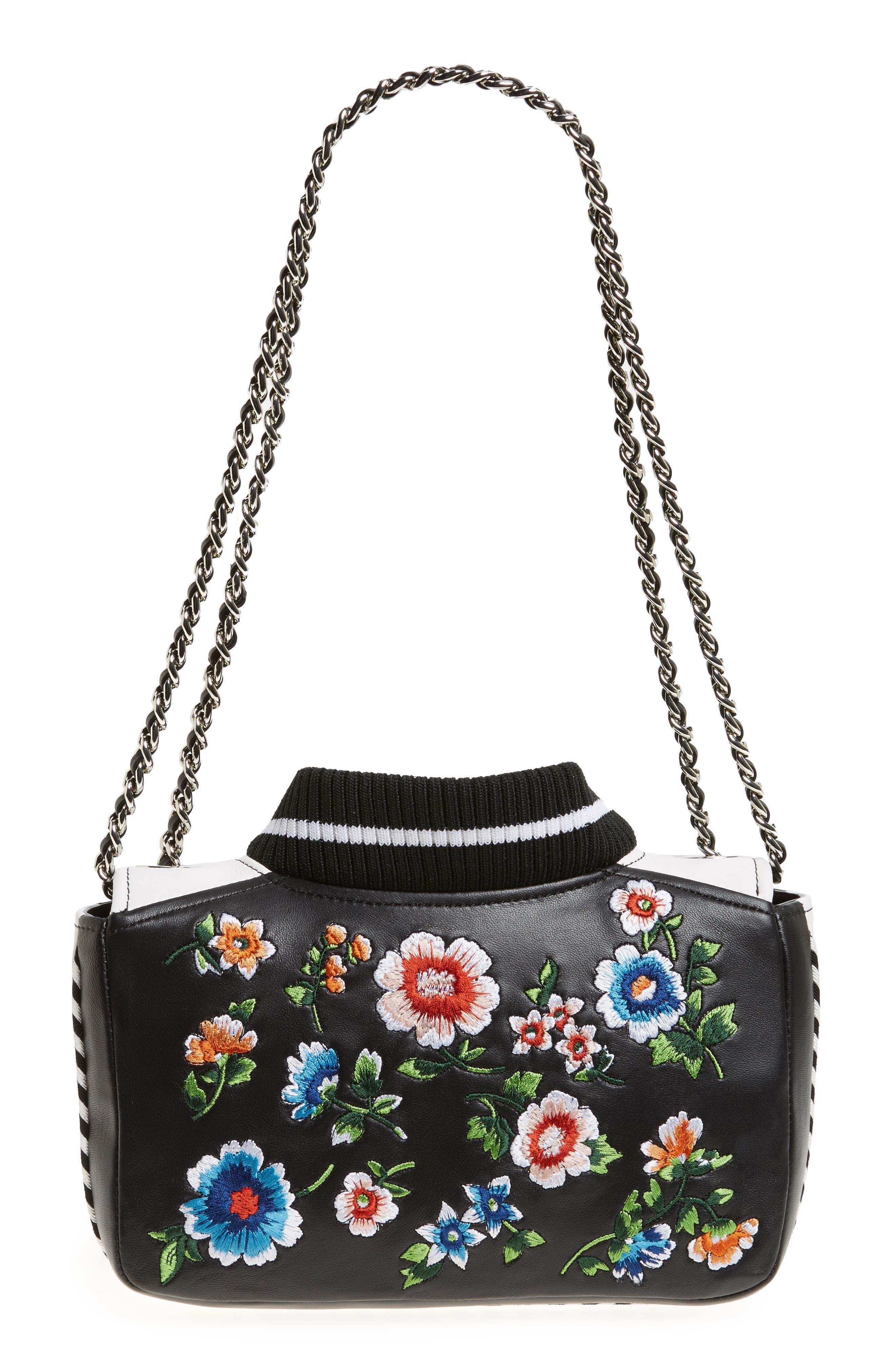 Embroidered Floral Bomber Jacket Leather Shoulder Bag,                             Alternate thumbnail 4, color,                             BLACK