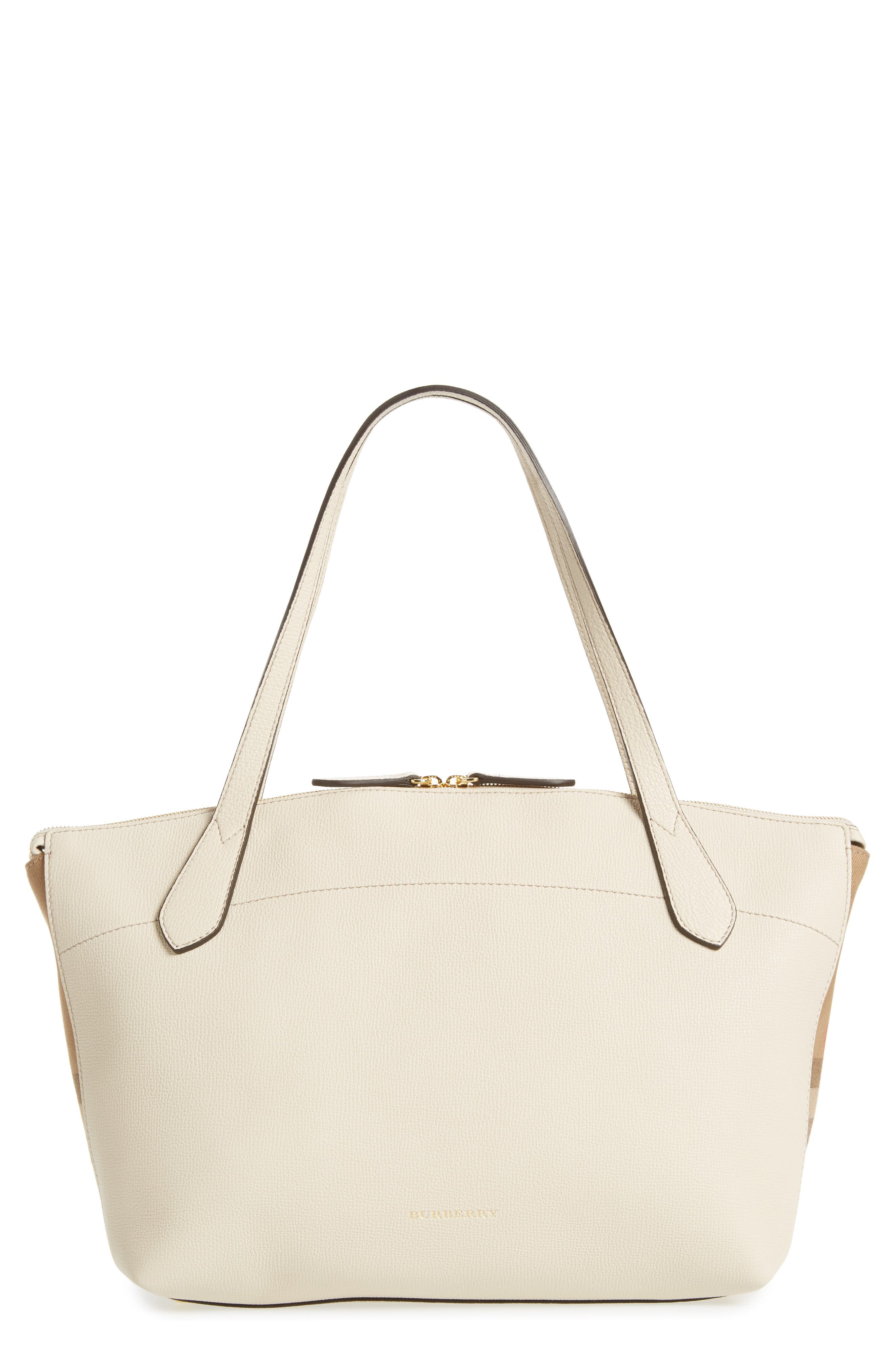 Welburn House Check & Leather Tote, Main, color, 900