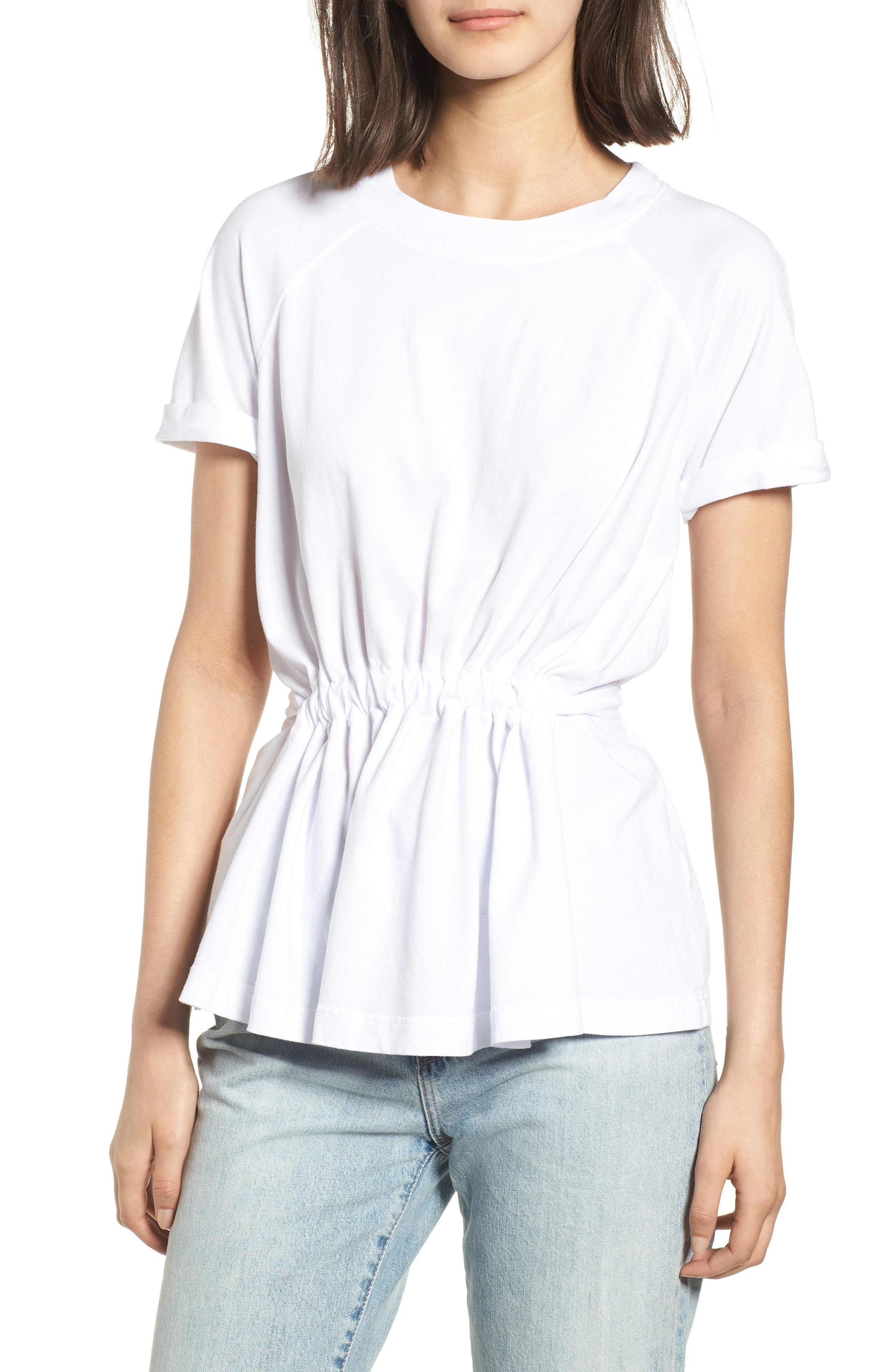 Gathered Jersey Tee,                         Main,                         color, WHITE