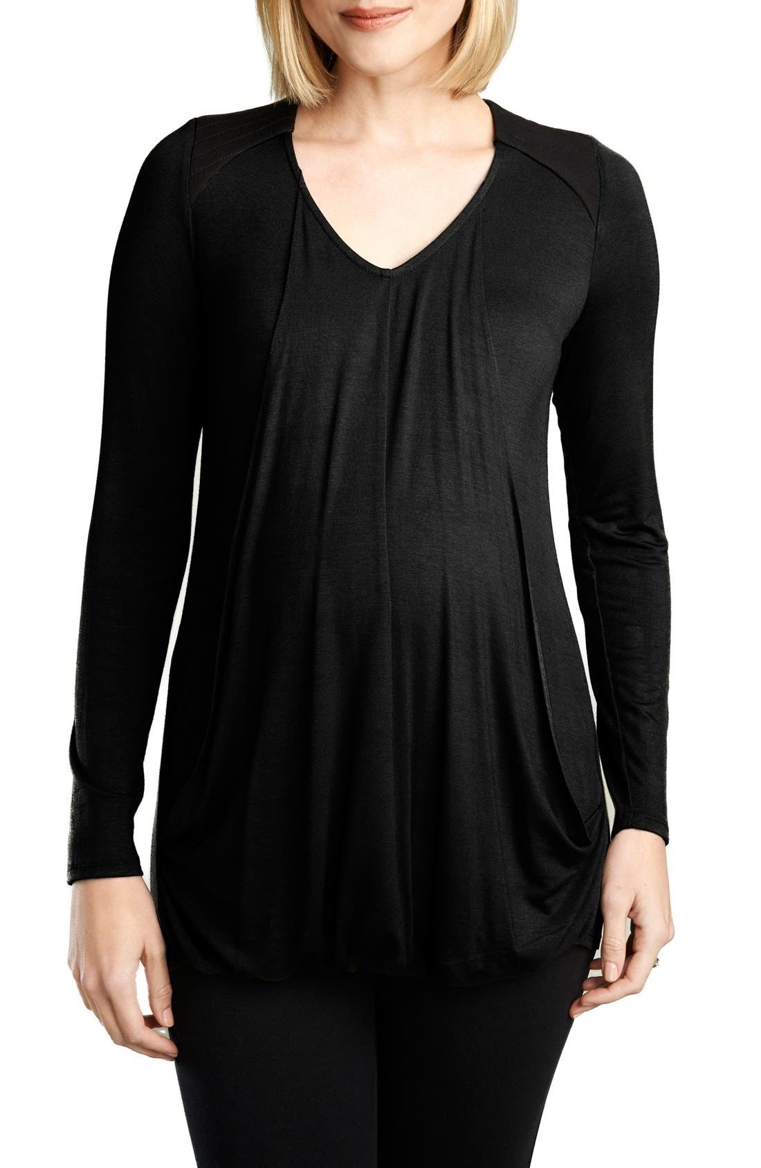 Quilted Nursing Top,                             Main thumbnail 1, color,                             BLACK/BLACK