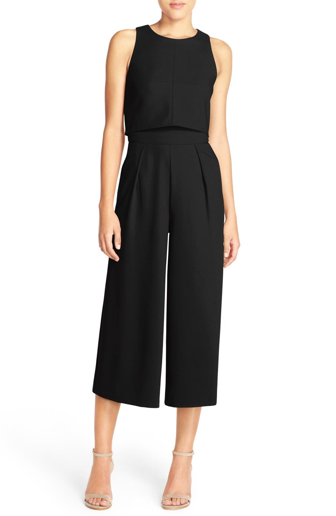 Popover Crop Wide Leg Jumpsuit,                             Main thumbnail 1, color,                             BLACK