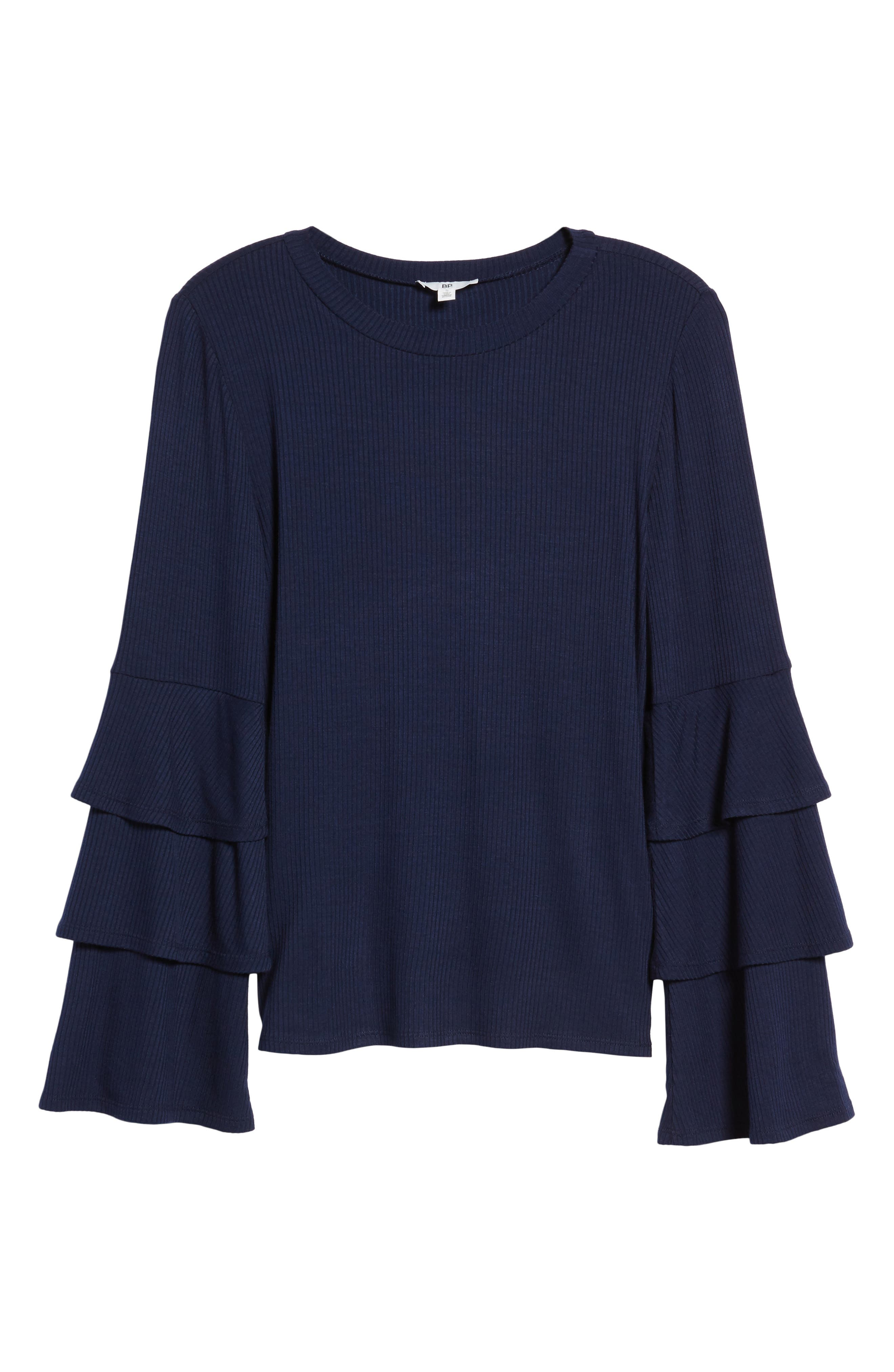 Ruffle Sleeve Ribbed Sweater,                             Alternate thumbnail 22, color,