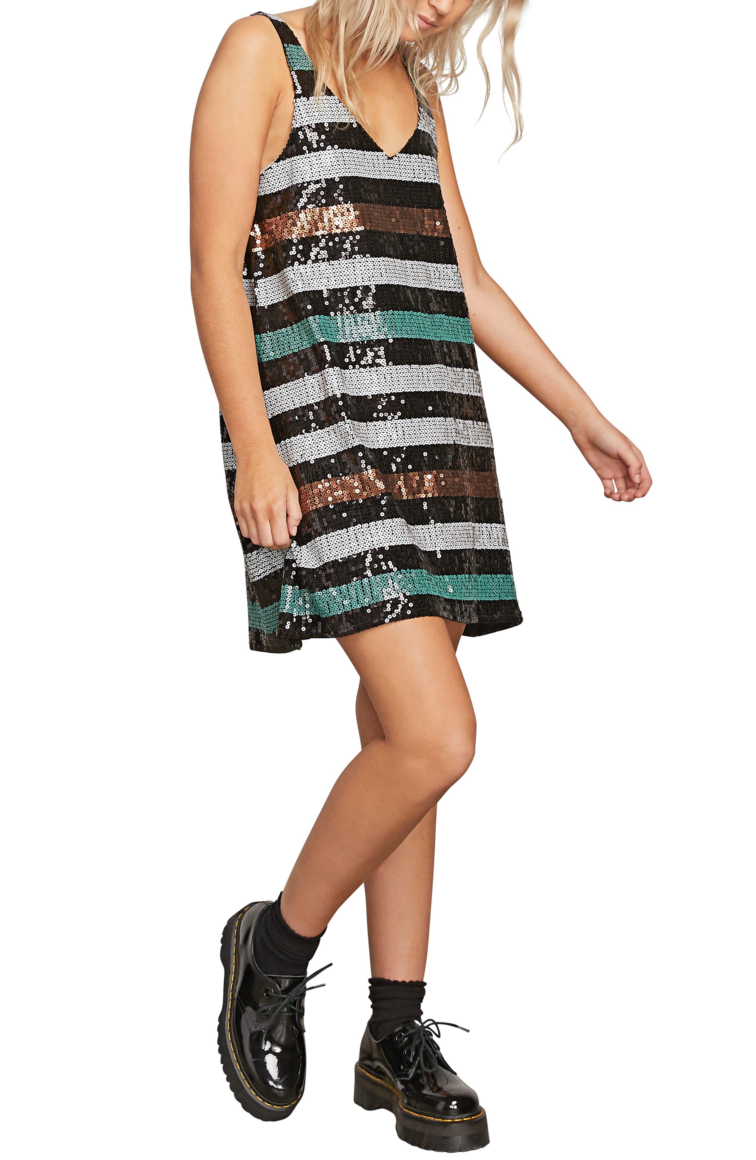 Volcom Seek Whence Sequin Stripe Dress, Black