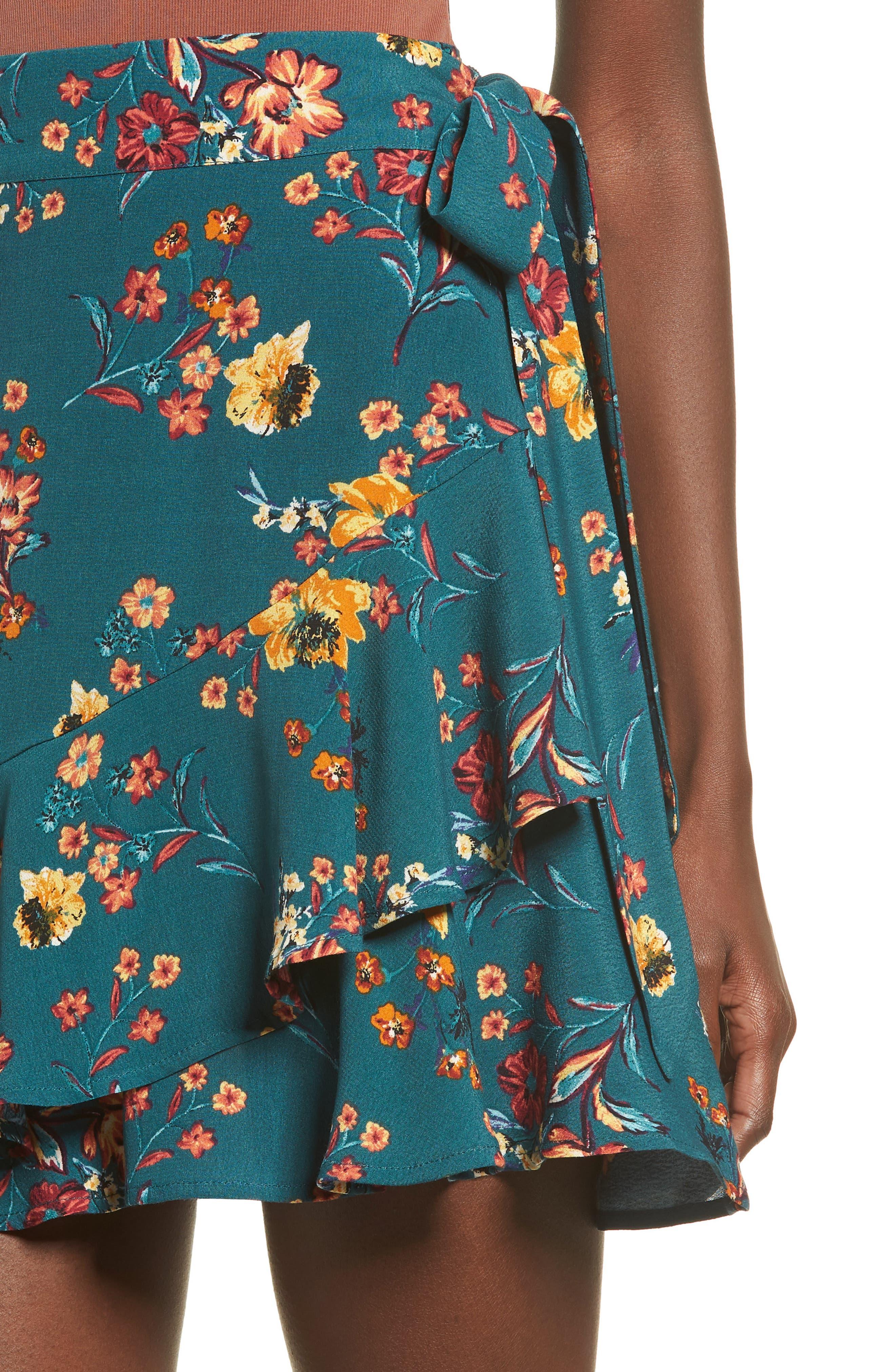 Aviana Ruffle Wrap Skirt,                             Alternate thumbnail 4, color,                             348