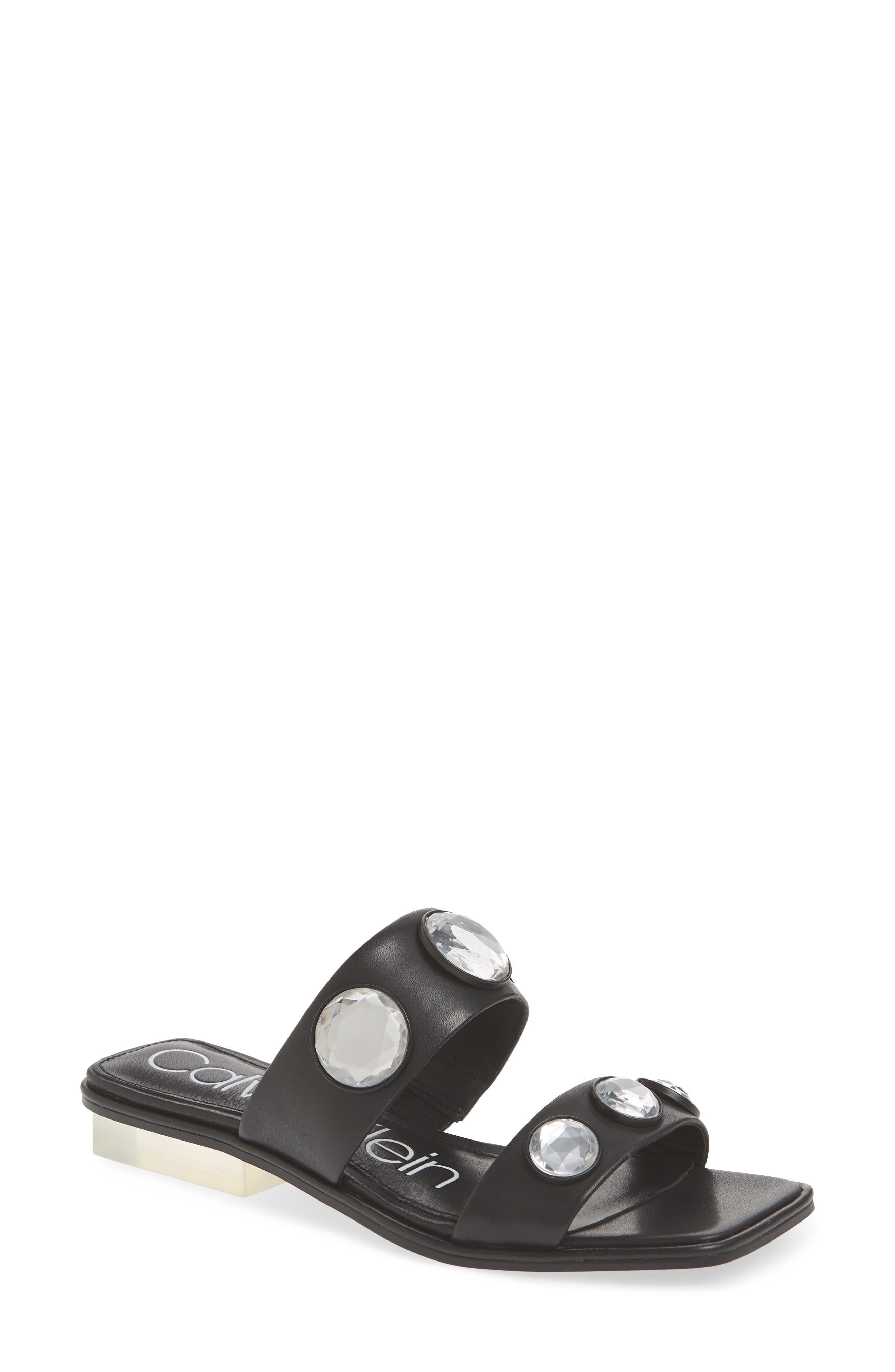 Kace Crystal Embellished Slide Sandal,                             Main thumbnail 1, color,                             001