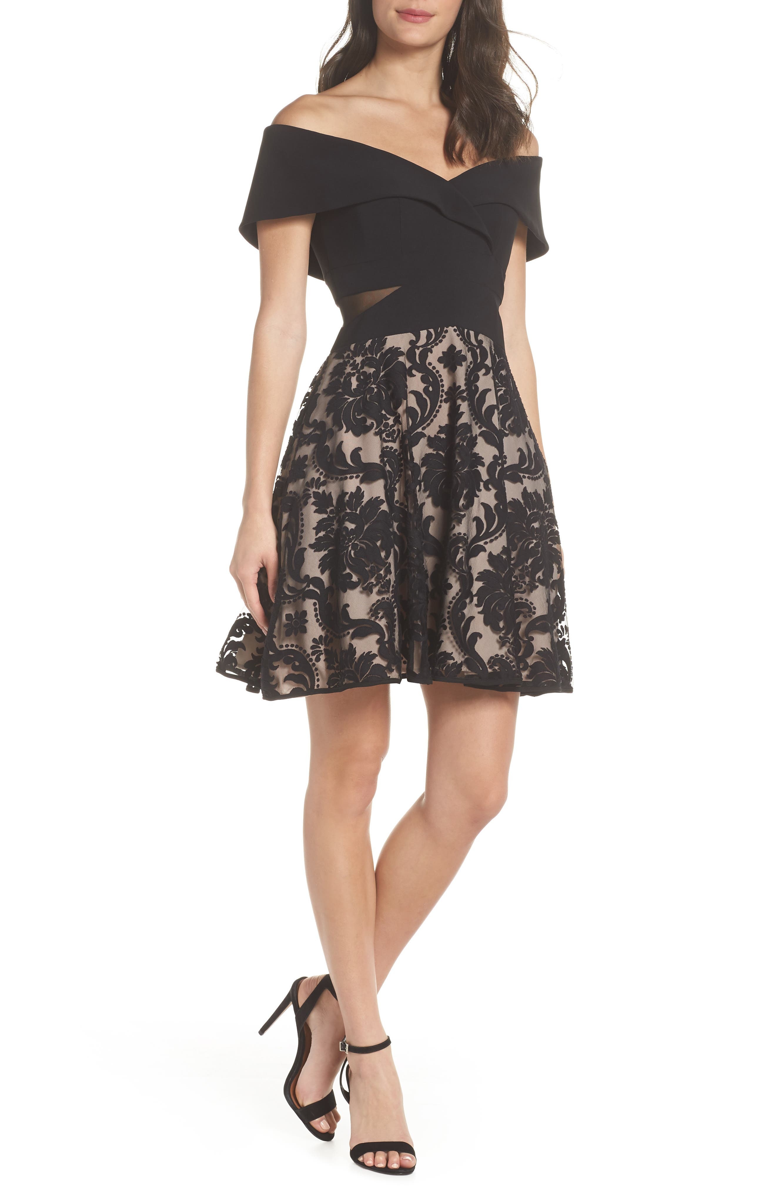 Off the Shoulder Party Dress,                         Main,                         color, BLACK/ BLUSH