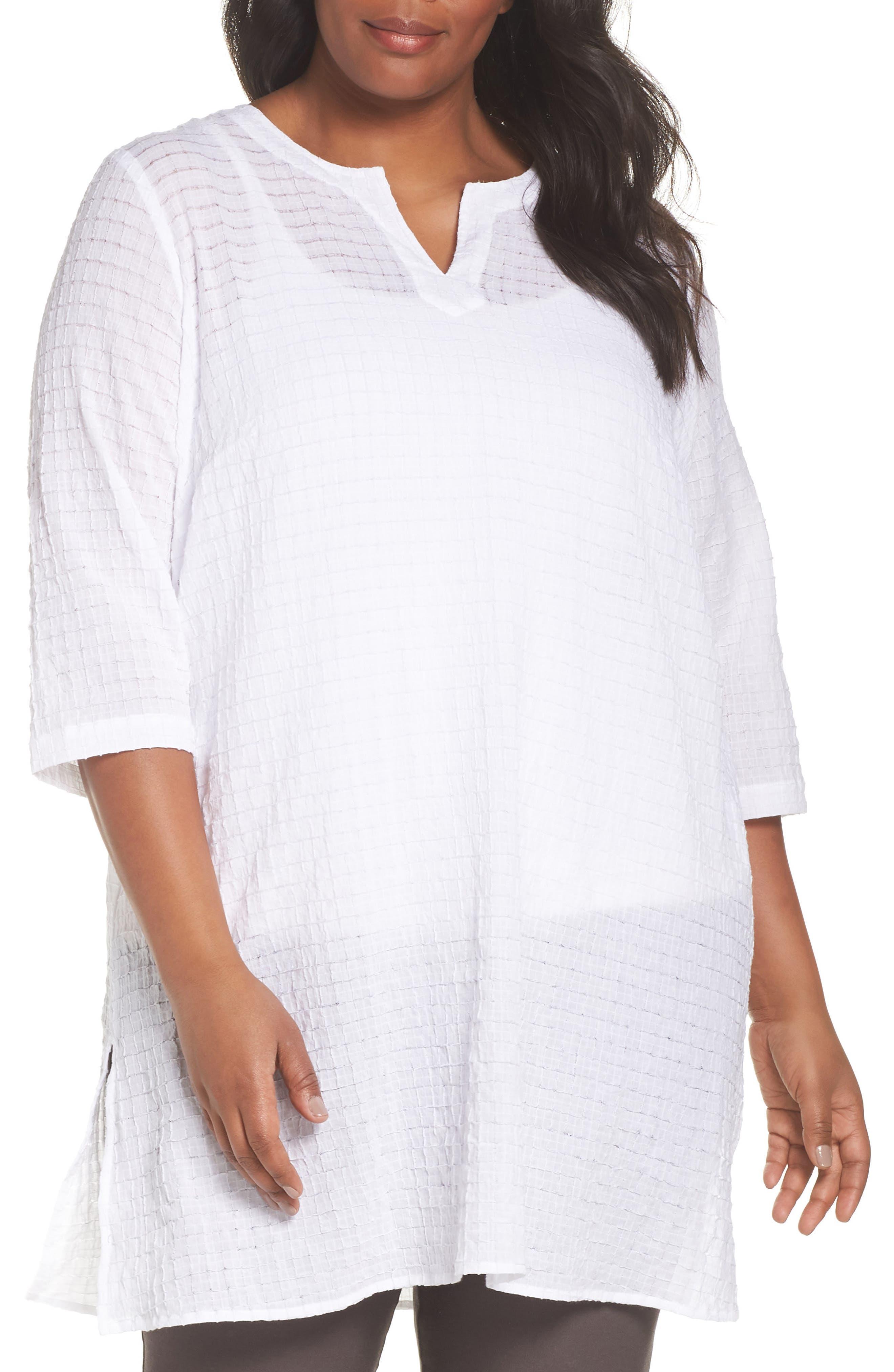 Split Neck Textured Tunic,                         Main,                         color, WHITE
