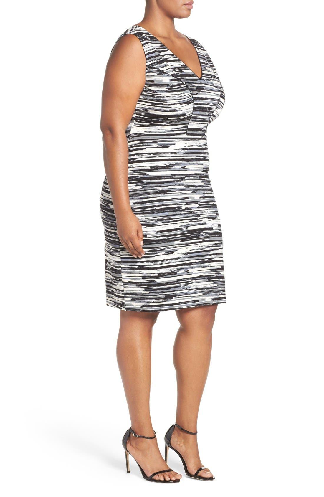 'Viera' Piped Detail V-Neck Sheath Dress,                             Alternate thumbnail 9, color,