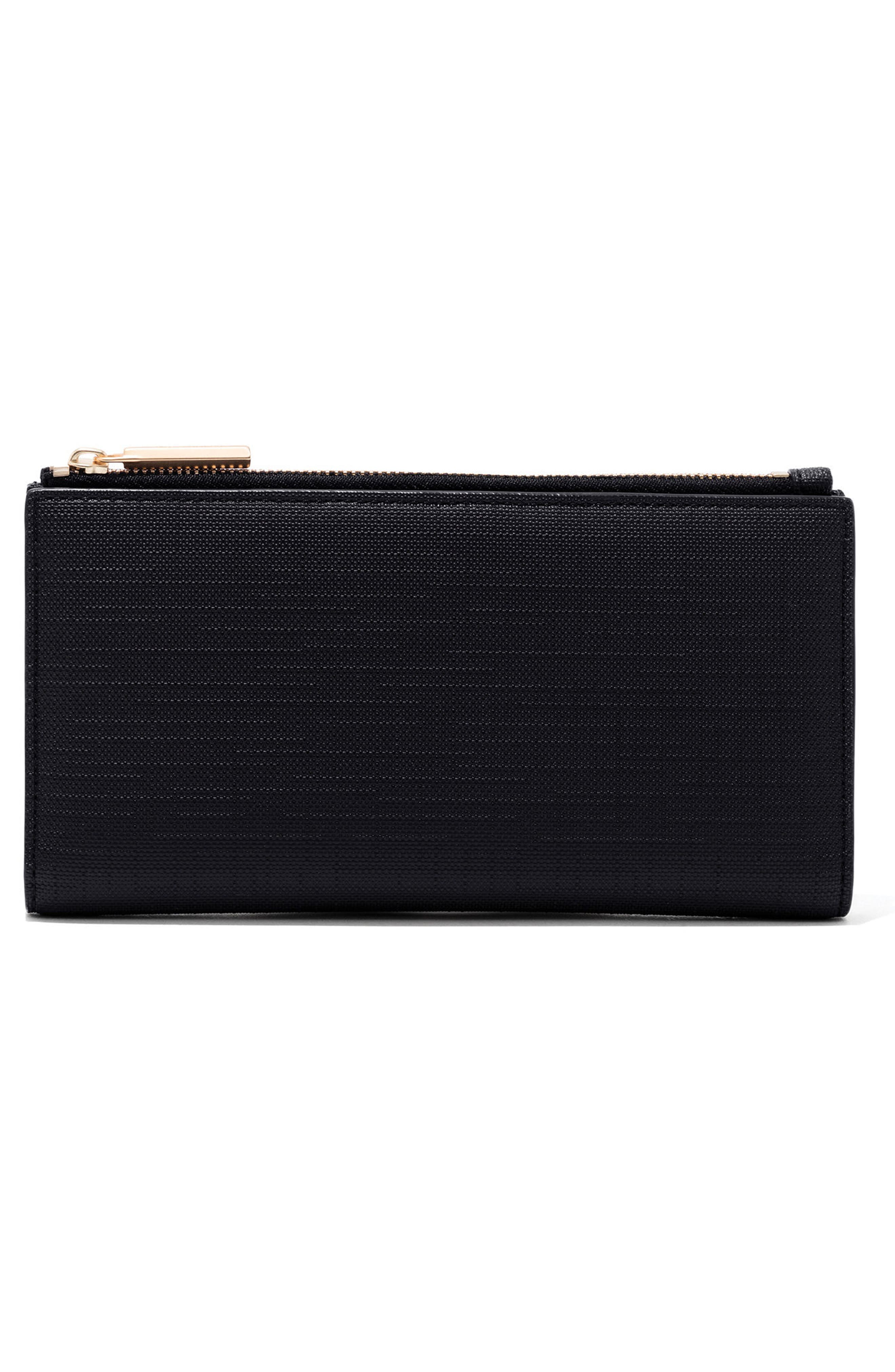Signature Slim Coated Canvas Wallet,                             Alternate thumbnail 3, color,                             ONYX