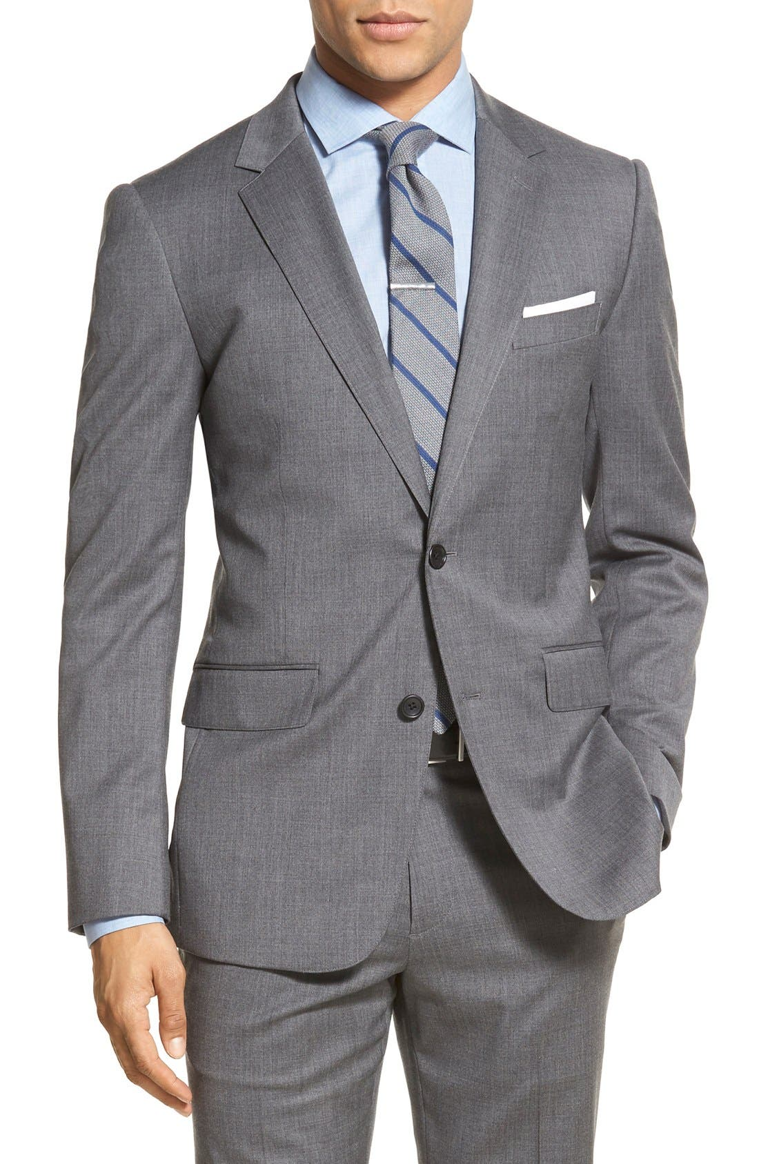 Trim Fit Solid Stretch Wool Sport Coat,                             Main thumbnail 1, color,