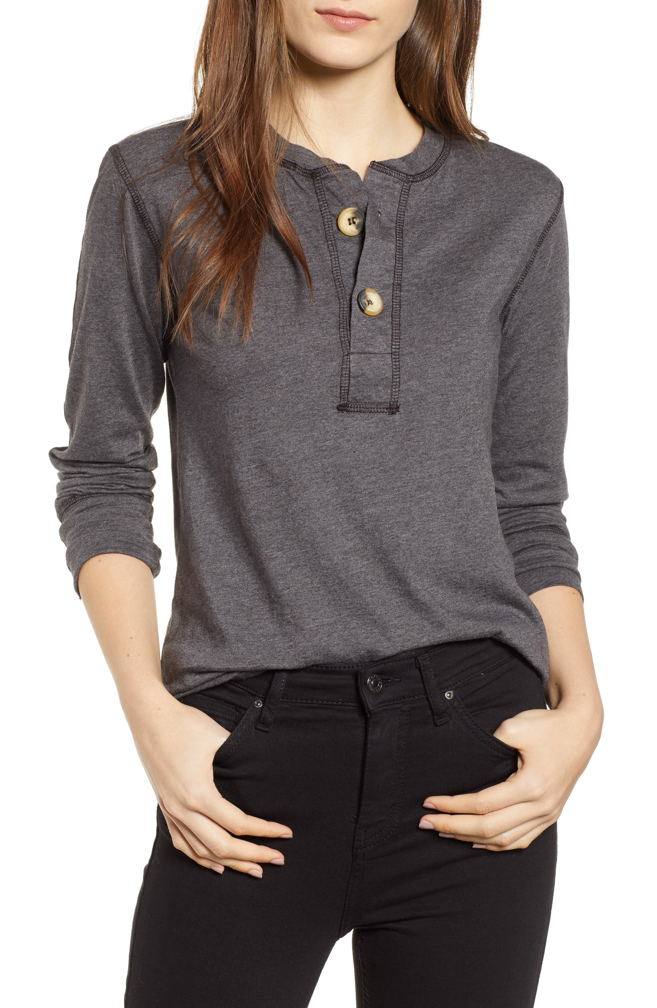 Like a Rollin Stone Henley,                         Main,                         color, CHARCOAL