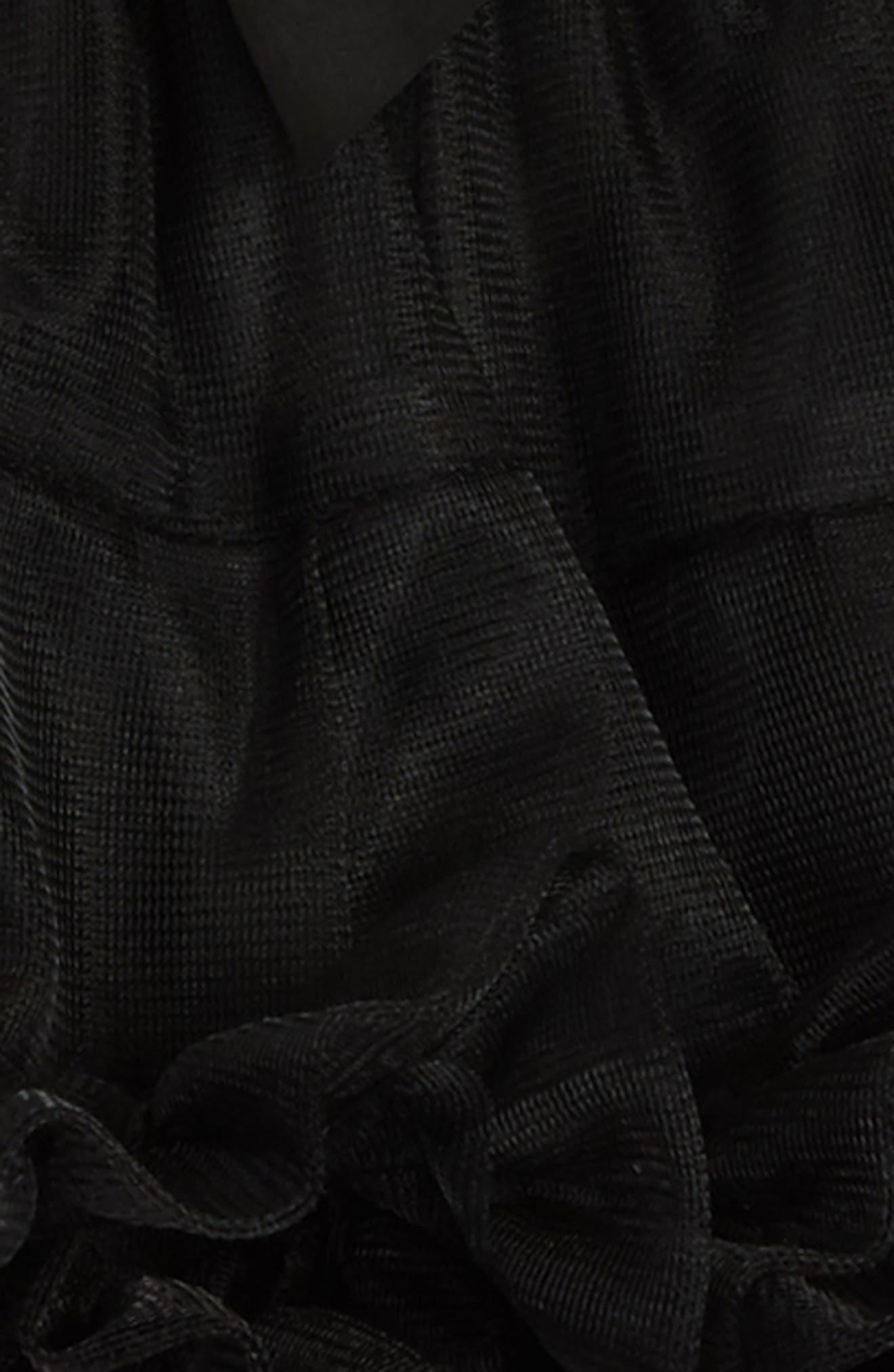 Tutu & Floral Appliqué Head Wrap Set,                             Alternate thumbnail 3, color,                             BLACK