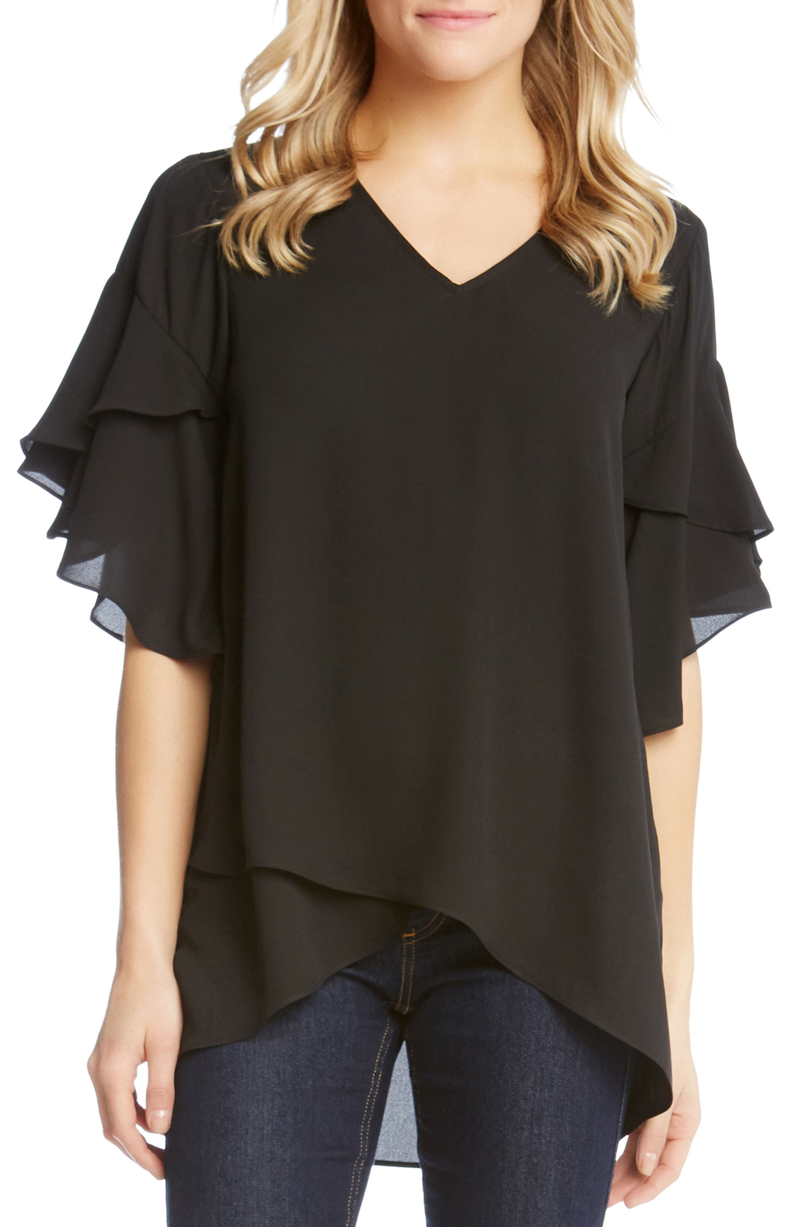 Asymmetrical Ruffle Sleeve Crepe Blouse,                             Main thumbnail 1, color,
