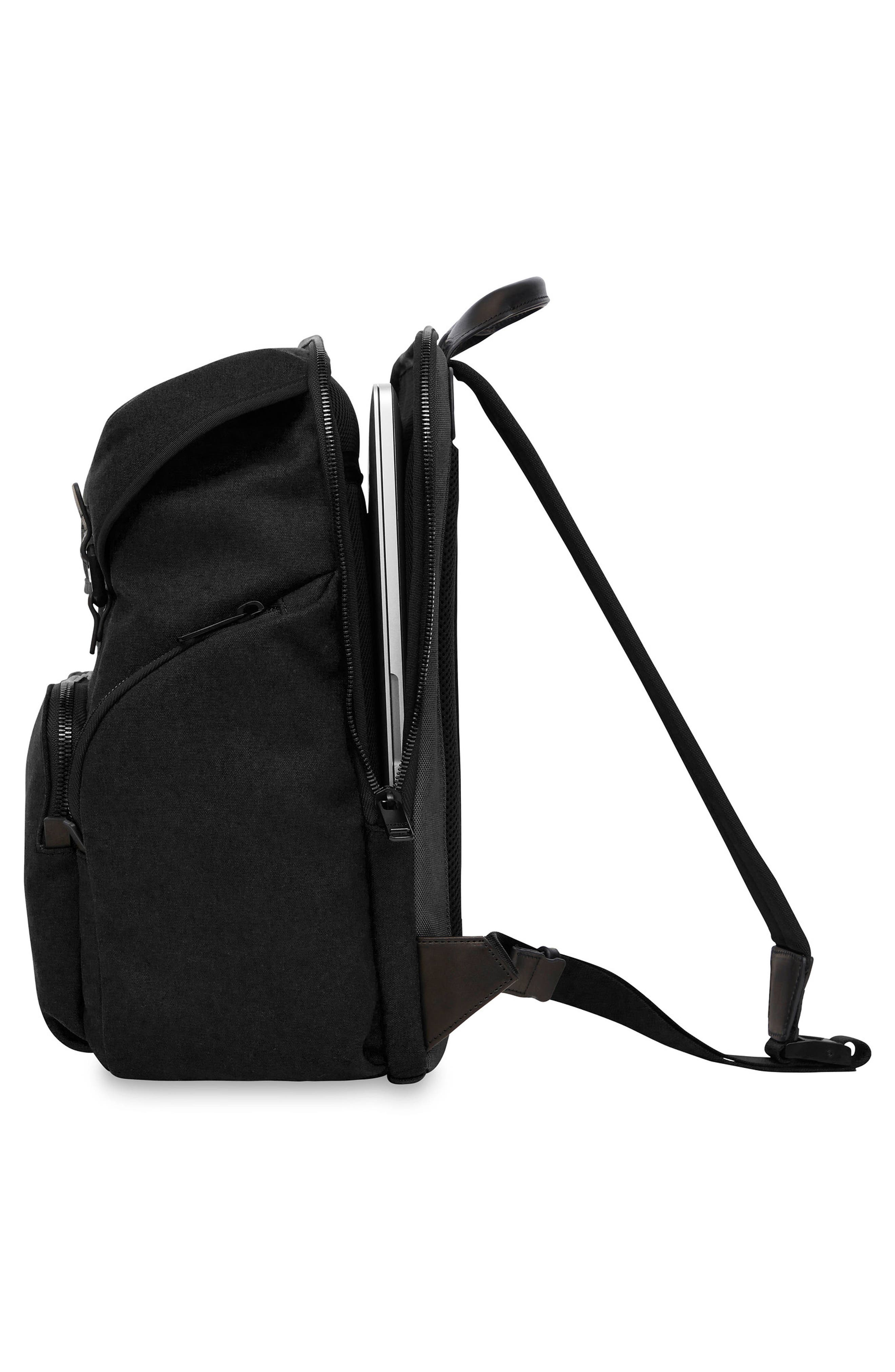 Knomo Fulham Thurloe Waxed Canvas Backpack with RFID Pocket,                             Alternate thumbnail 4, color,                             BLACK
