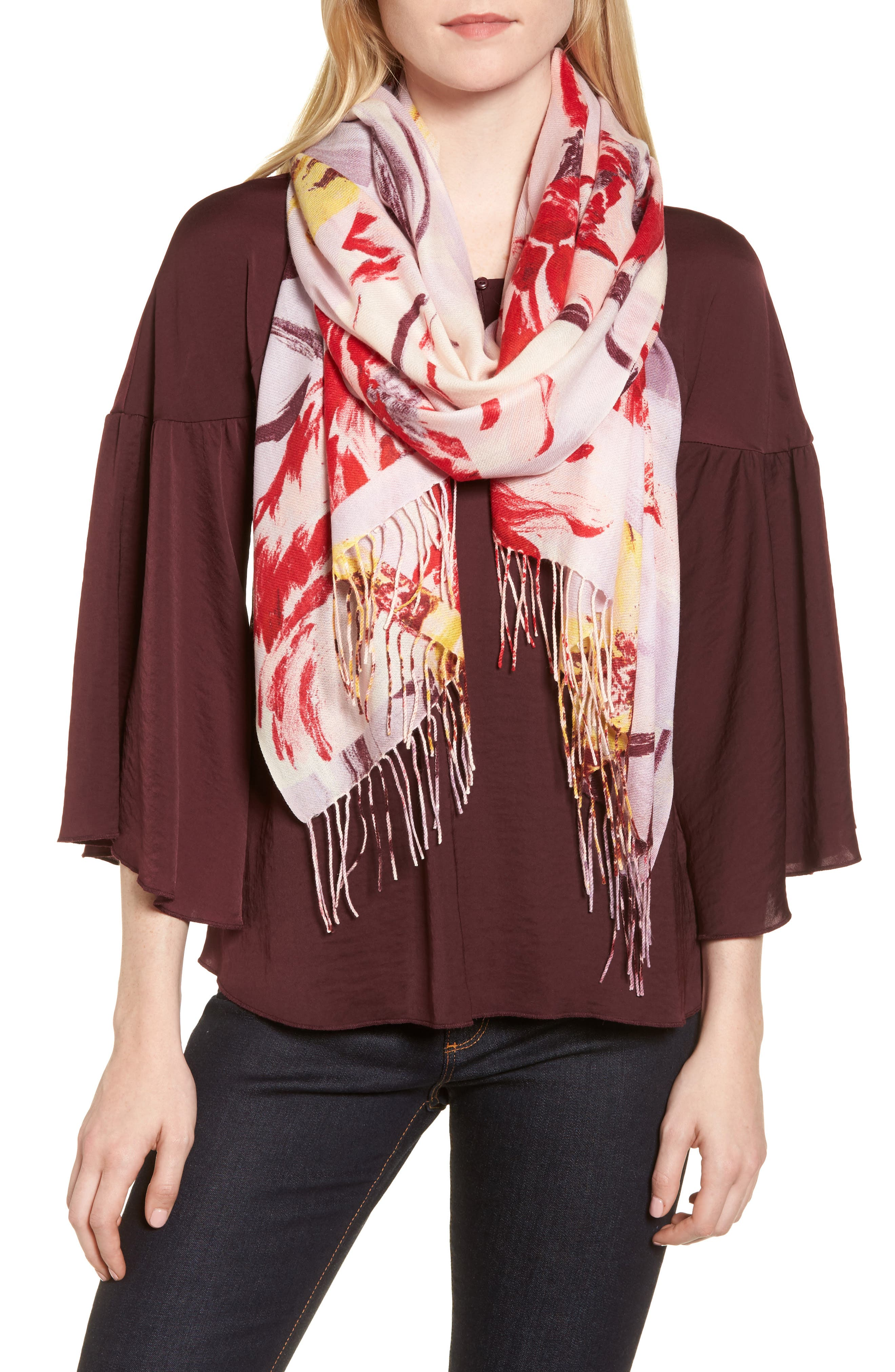 Tissue Print Wool & Cashmere Wrap Scarf,                             Main thumbnail 23, color,