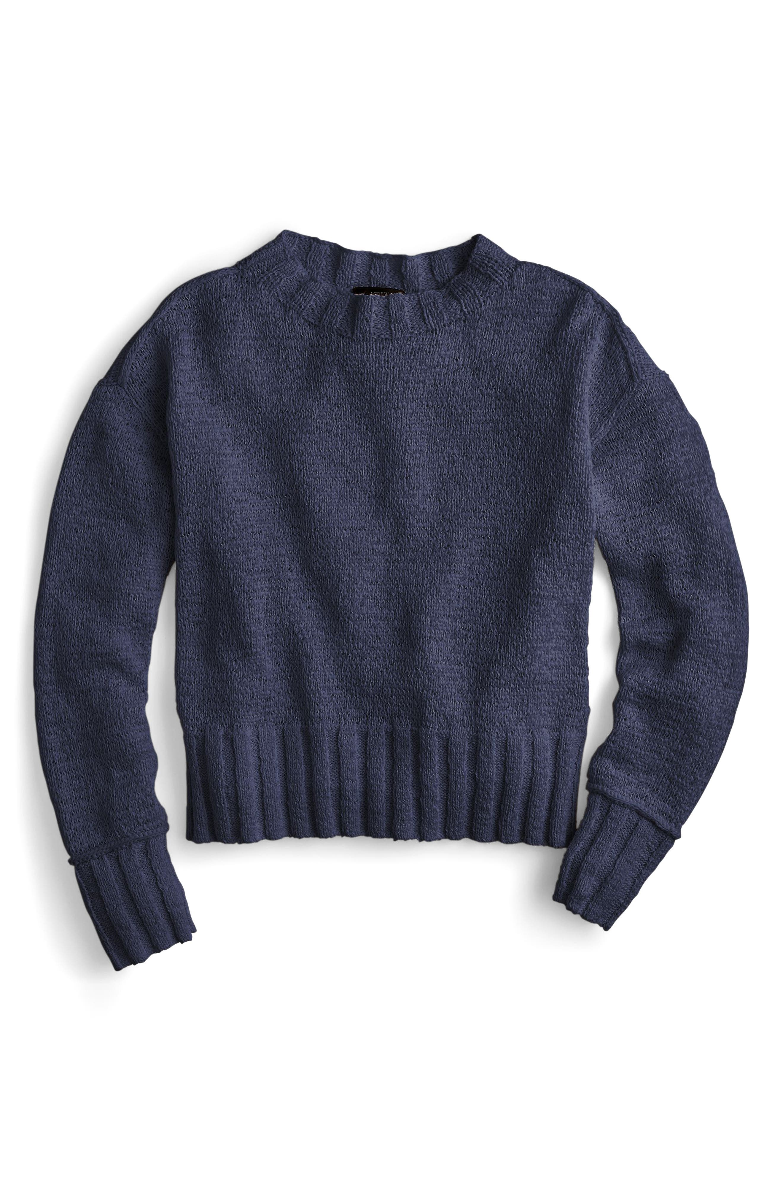 Erica Heathered Cotton Wide Rib Crewneck Sweater,                             Main thumbnail 2, color,
