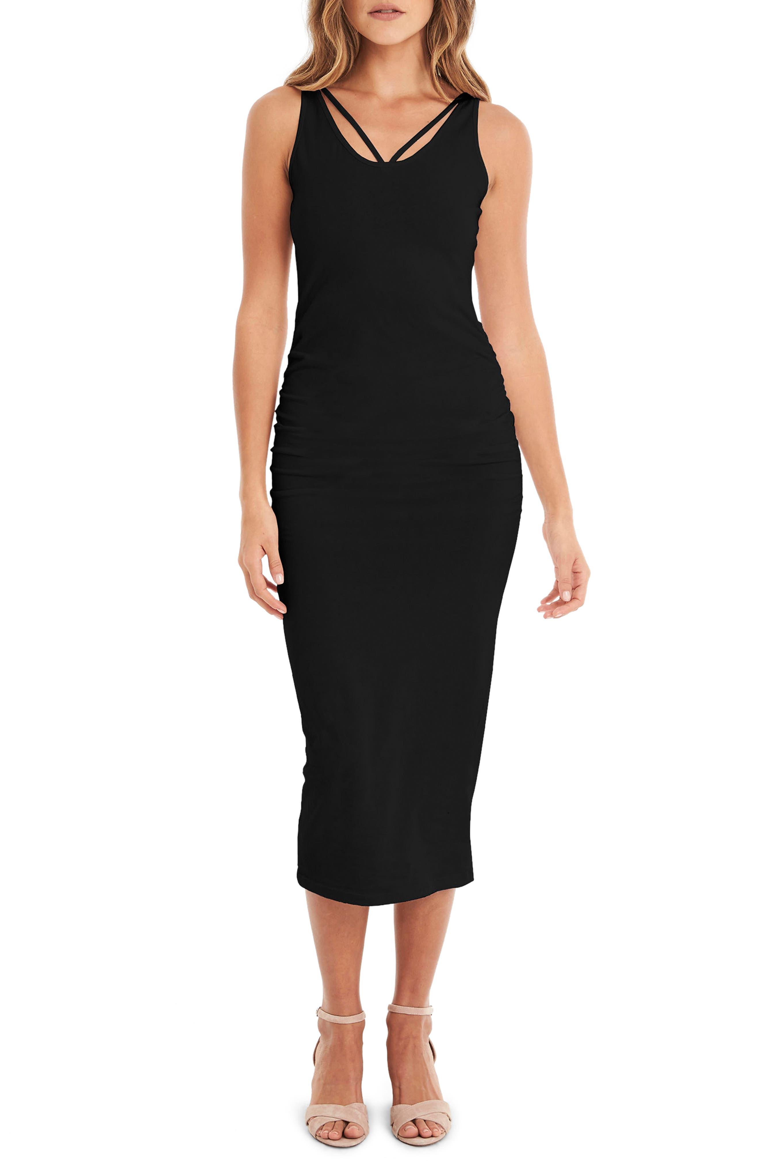 Reversible Stretch Cotton Midi Dress,                         Main,                         color, BLACK