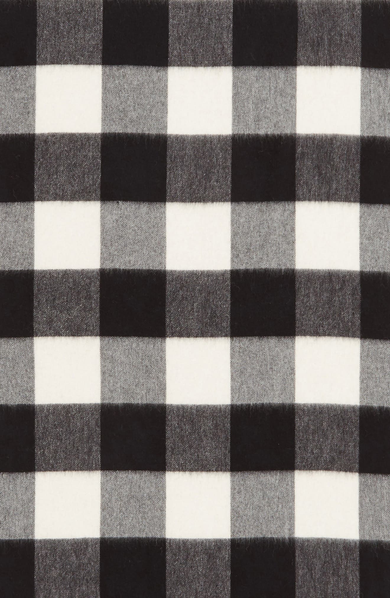 mega check wool scarf,                             Alternate thumbnail 4, color,                             CREAM/ BLACK