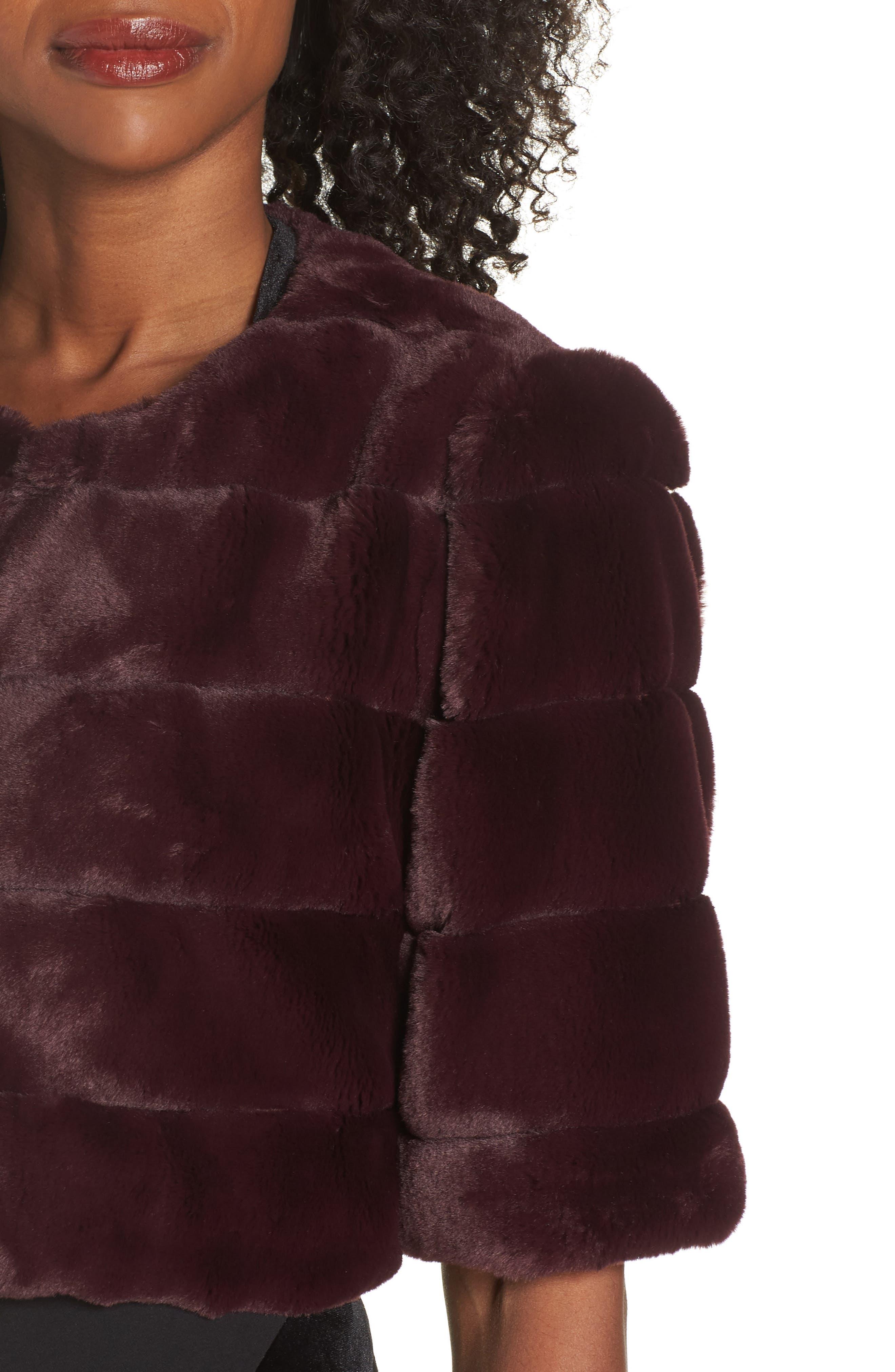 ELIZA J,                             Faux Fur Crop Jacket,                             Alternate thumbnail 5, color,                             WINE