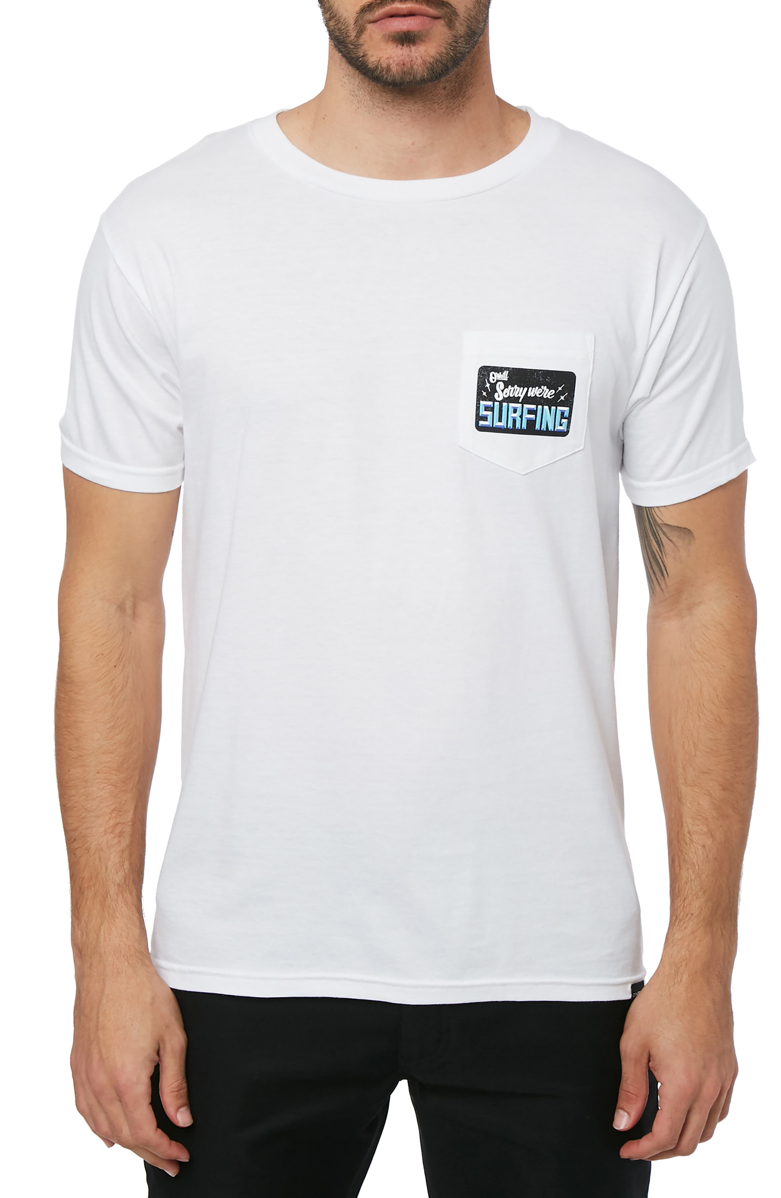 Gone Surfing Graphic Pocket T-Shirt,                             Main thumbnail 1, color,                             100