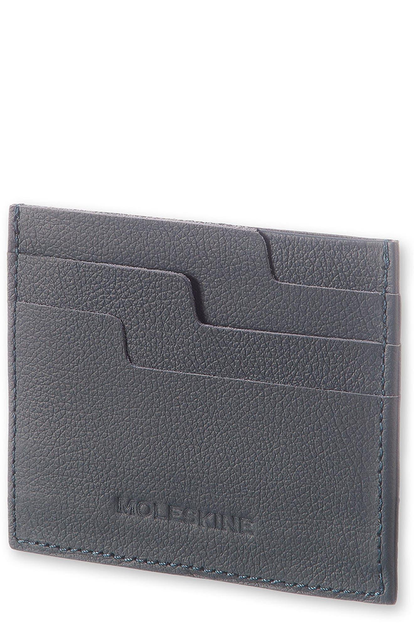 Moleskin Lineage Leather Card Case,                             Main thumbnail 1, color,                             AVIO BLUE