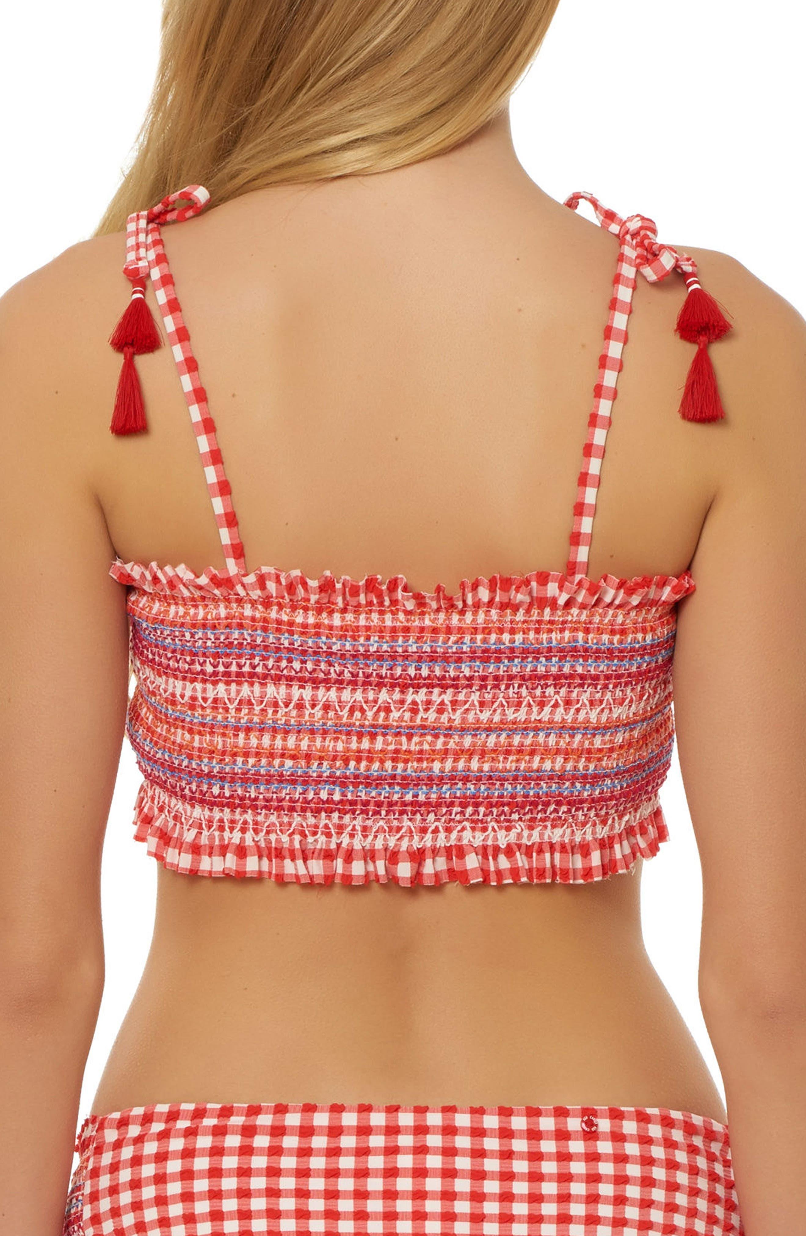 Smocked Gingham Bikini Top,                             Alternate thumbnail 2, color,                             RED
