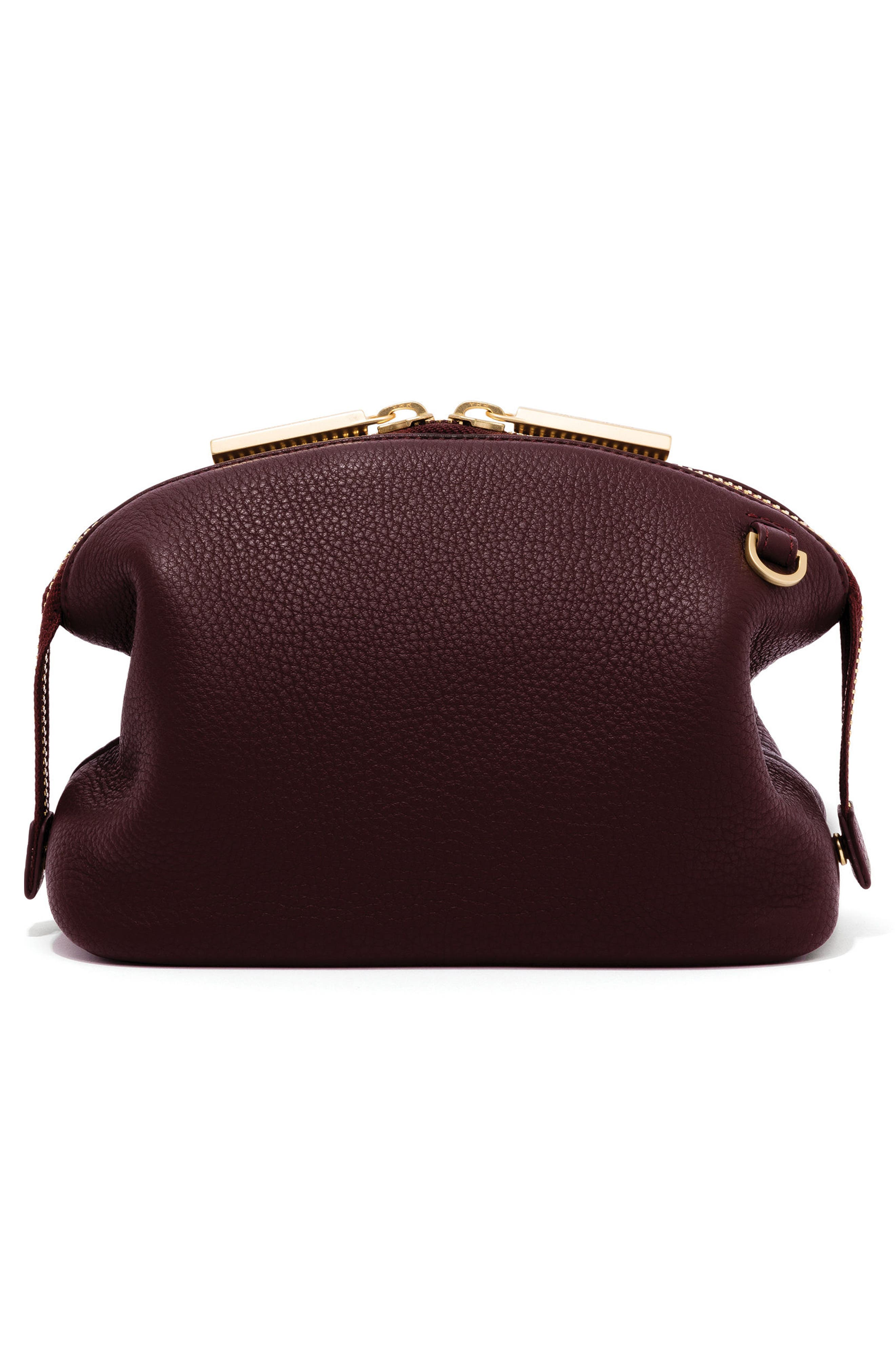 Large Lola Leather Cosmetics Pouch,                             Alternate thumbnail 3, color,                             OXBLOOD
