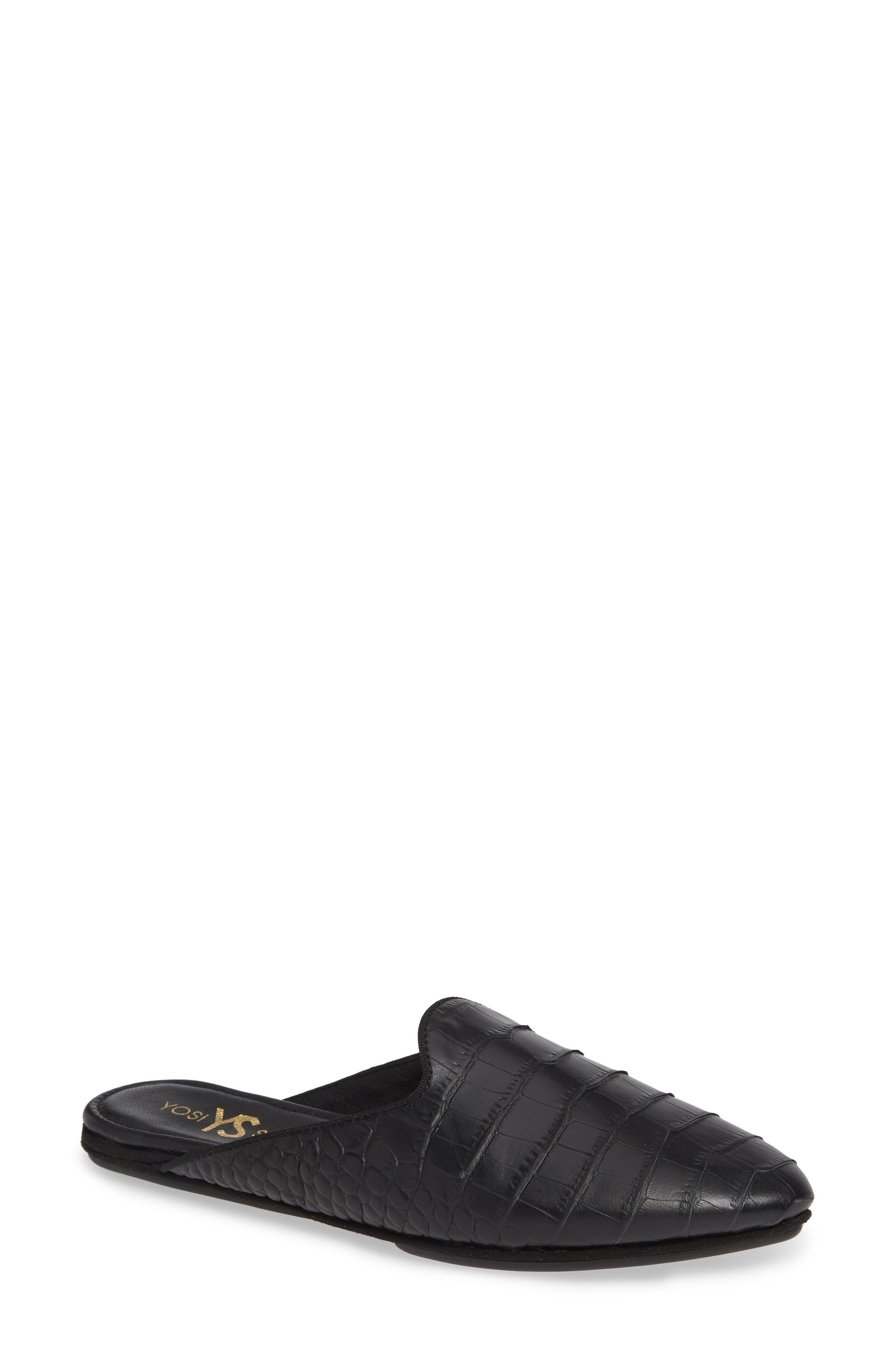 YOSI SAMRA Vidi Mule in Black Crocodile Leather