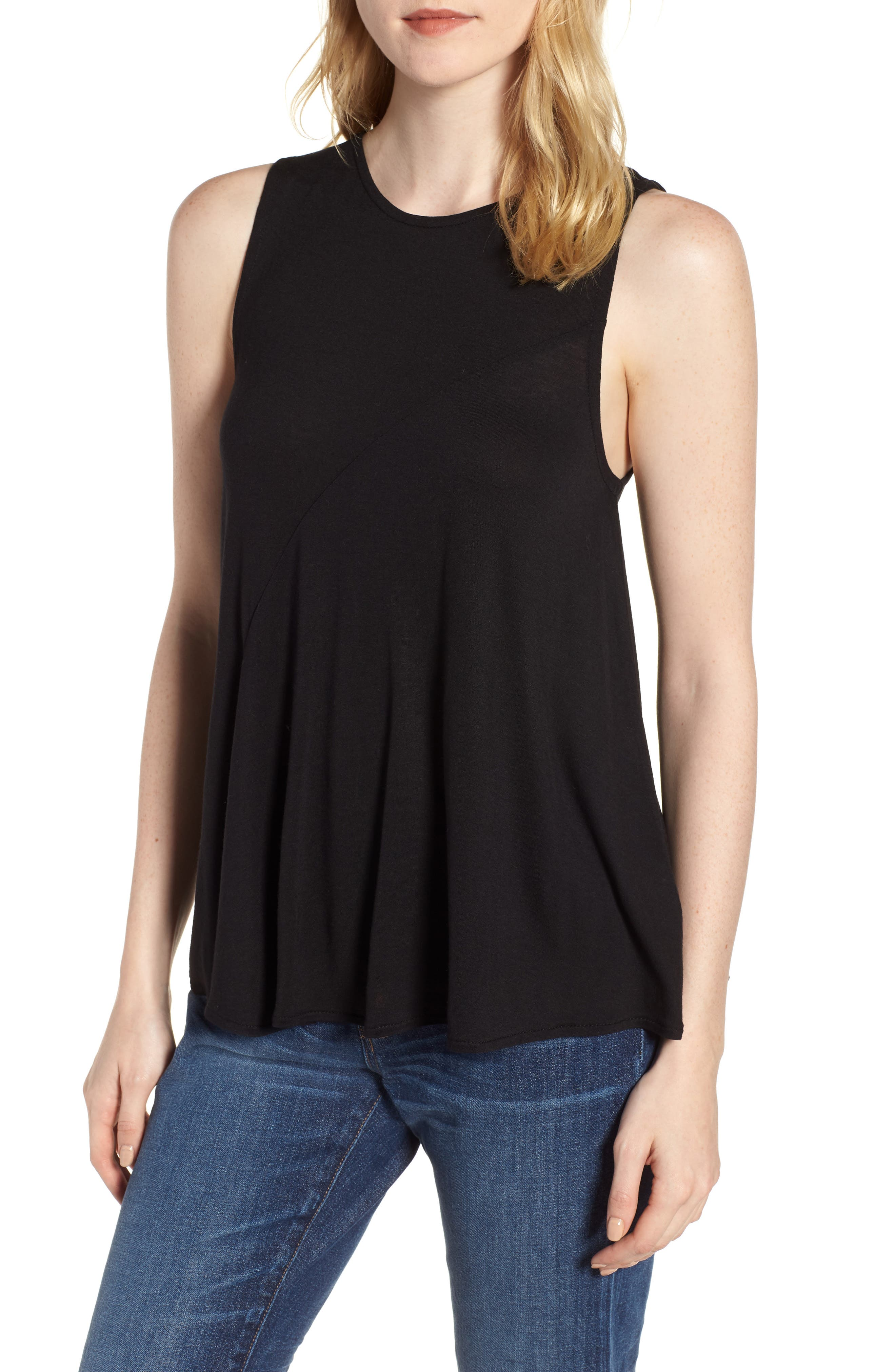 Pleated Swing Tank Top,                         Main,                         color, 001