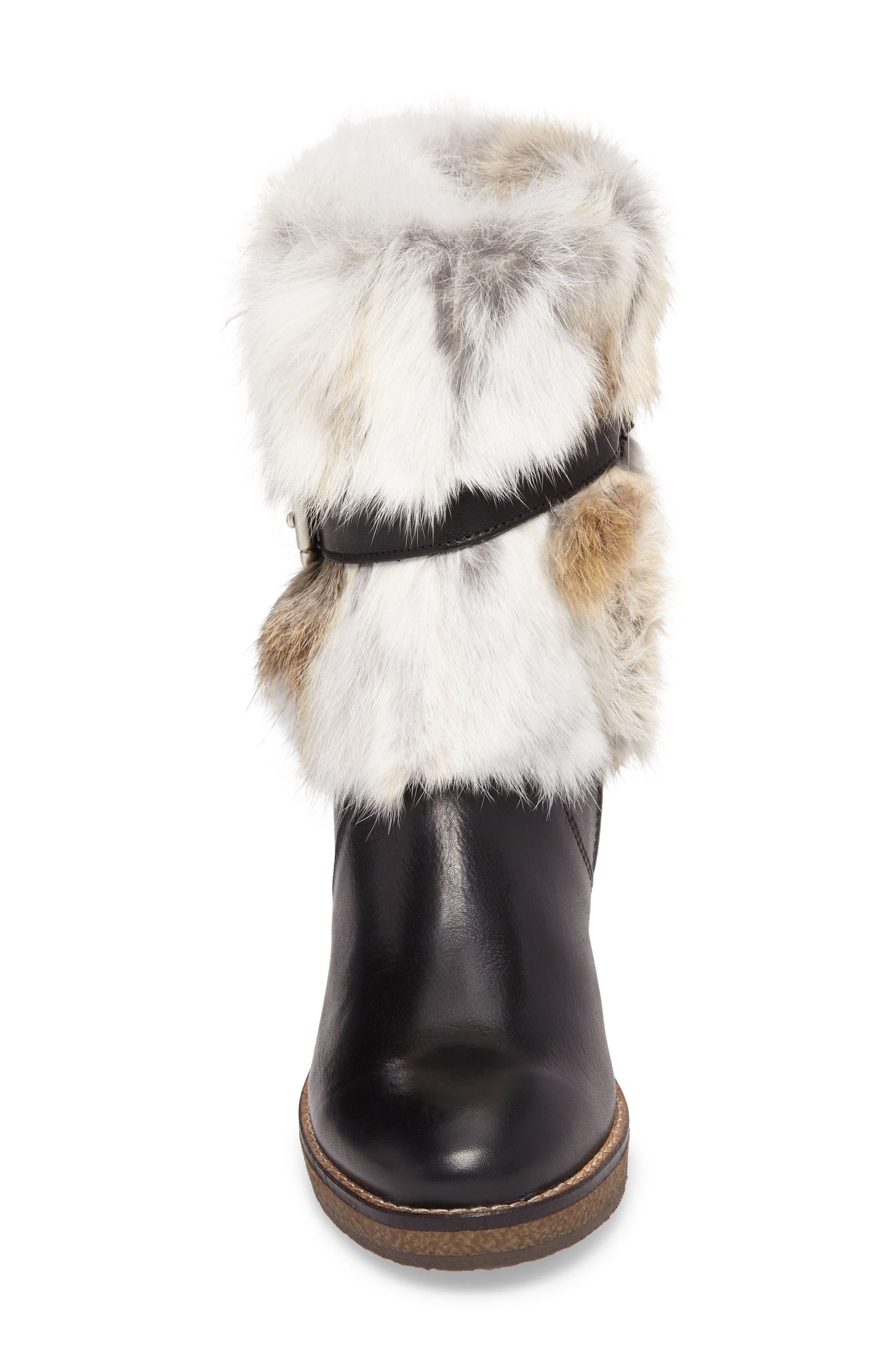 Tasarla Genuine Rabbit Fur Trim Boot,                             Alternate thumbnail 4, color,                             001