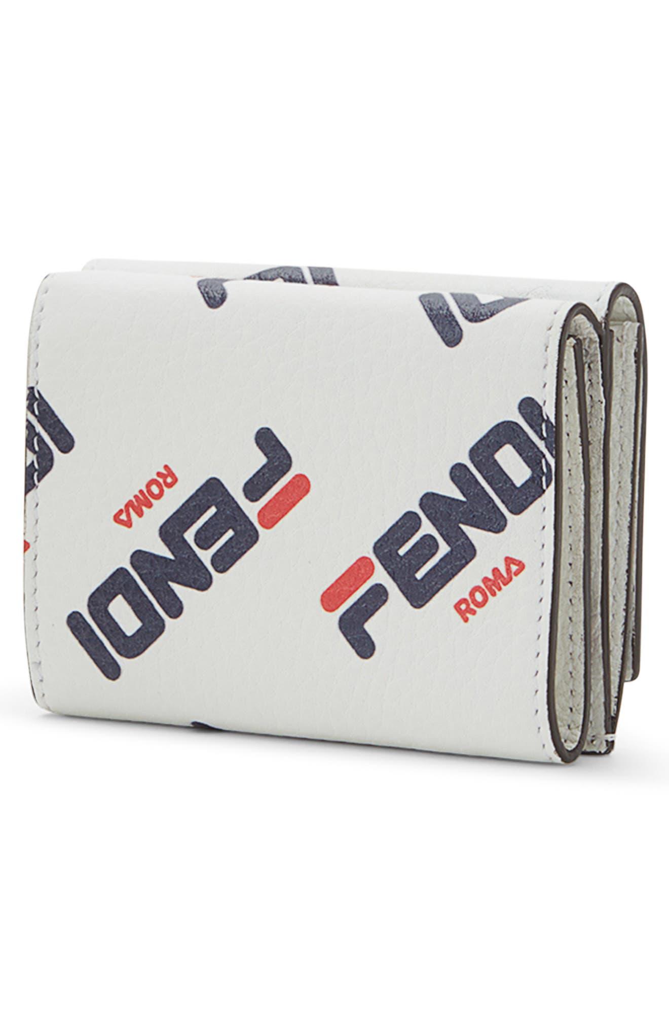 x FILA Mania Logo Trifold Wallet,                             Alternate thumbnail 3, color,                             BIANCO/ ORO SOFT