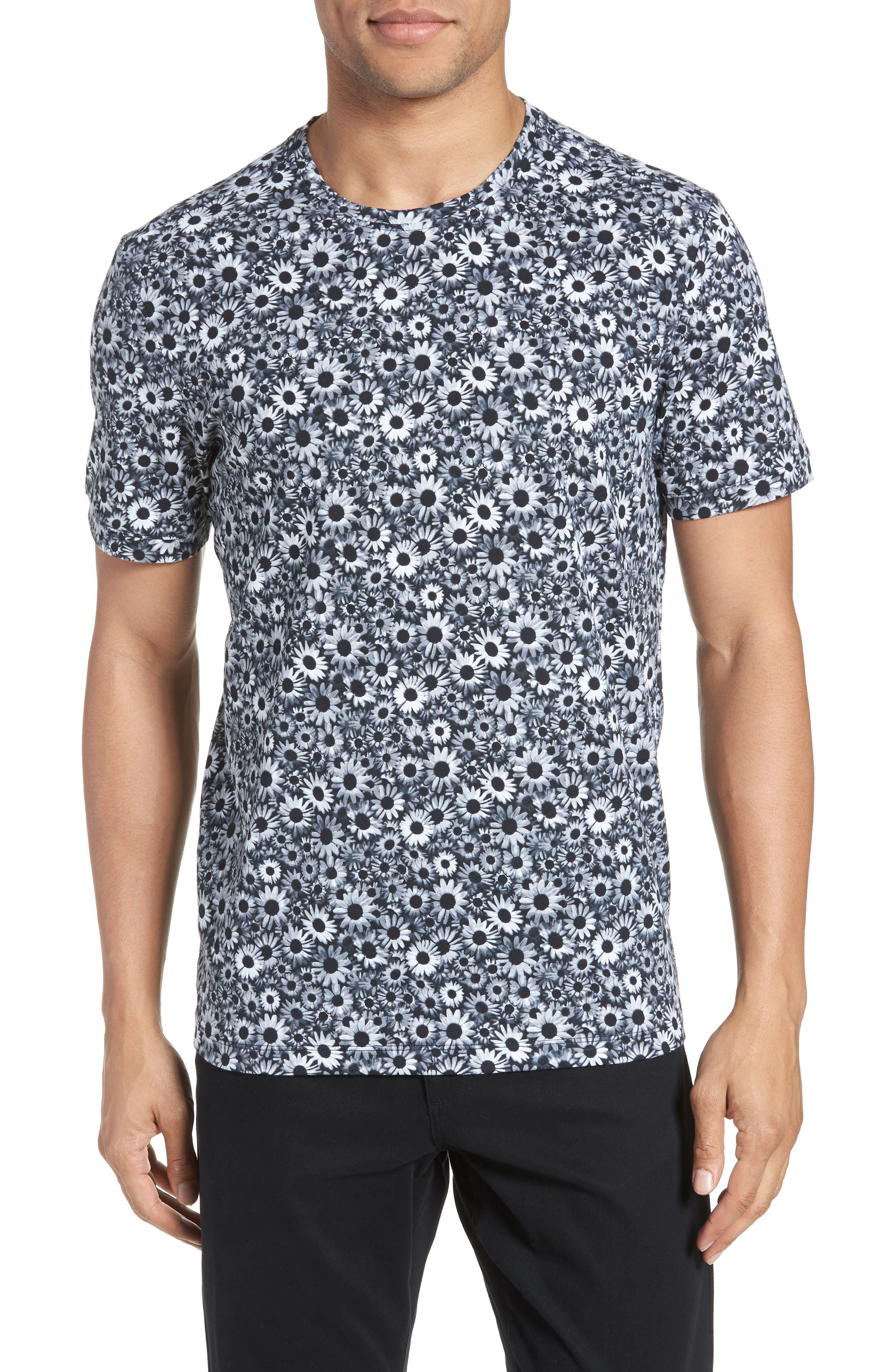 Print T-Shirt,                         Main,                         color, BLACK WHITE DAISY FLORAL