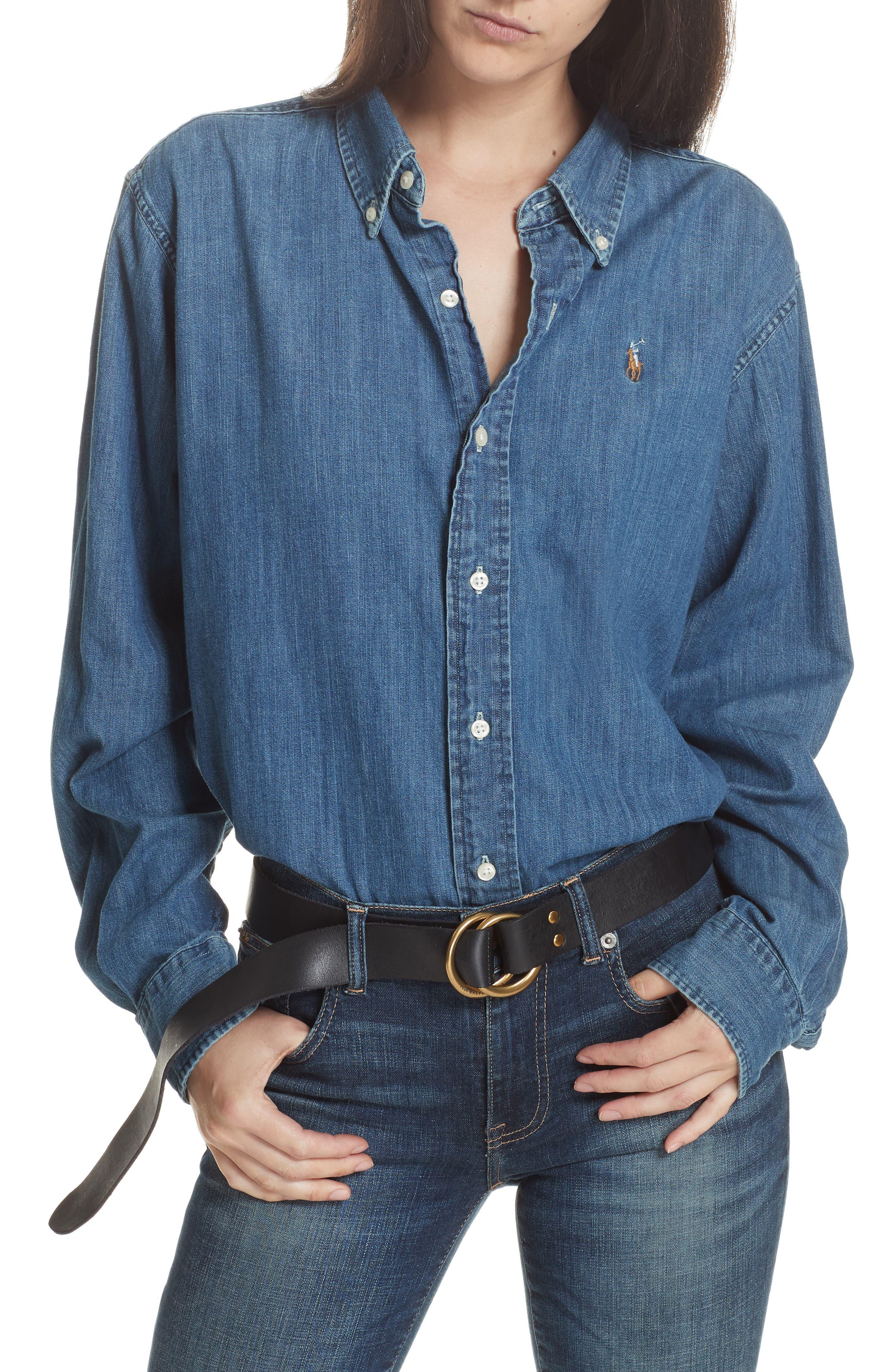 Denim Shirt,                         Main,                         color, MEDIUM INDIGO