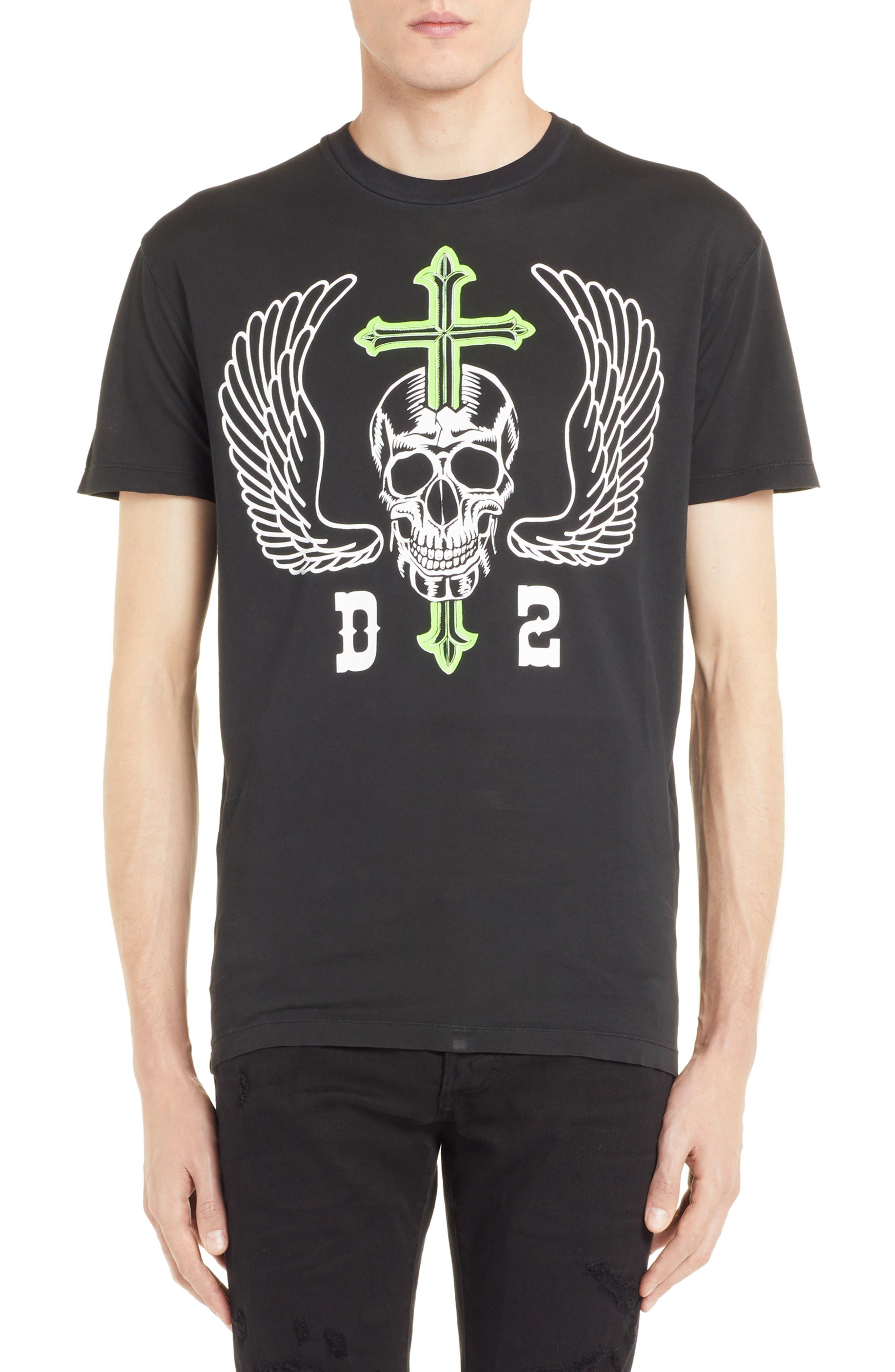 Skull Graphic T-Shirt,                         Main,                         color, BLACK