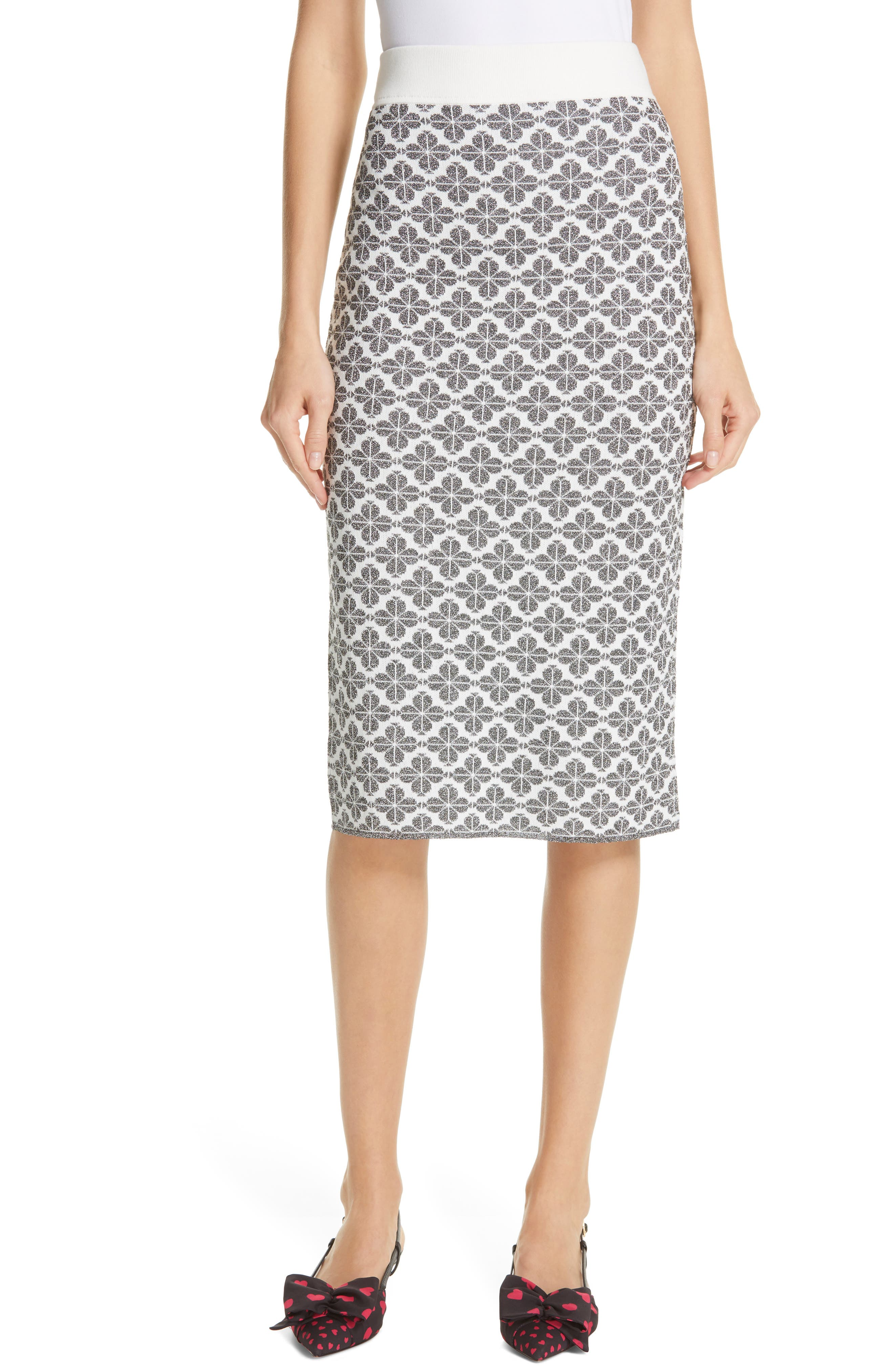 KATE SPADE NEW YORK floral spade knit pencil skirt, Main, color, BLACK