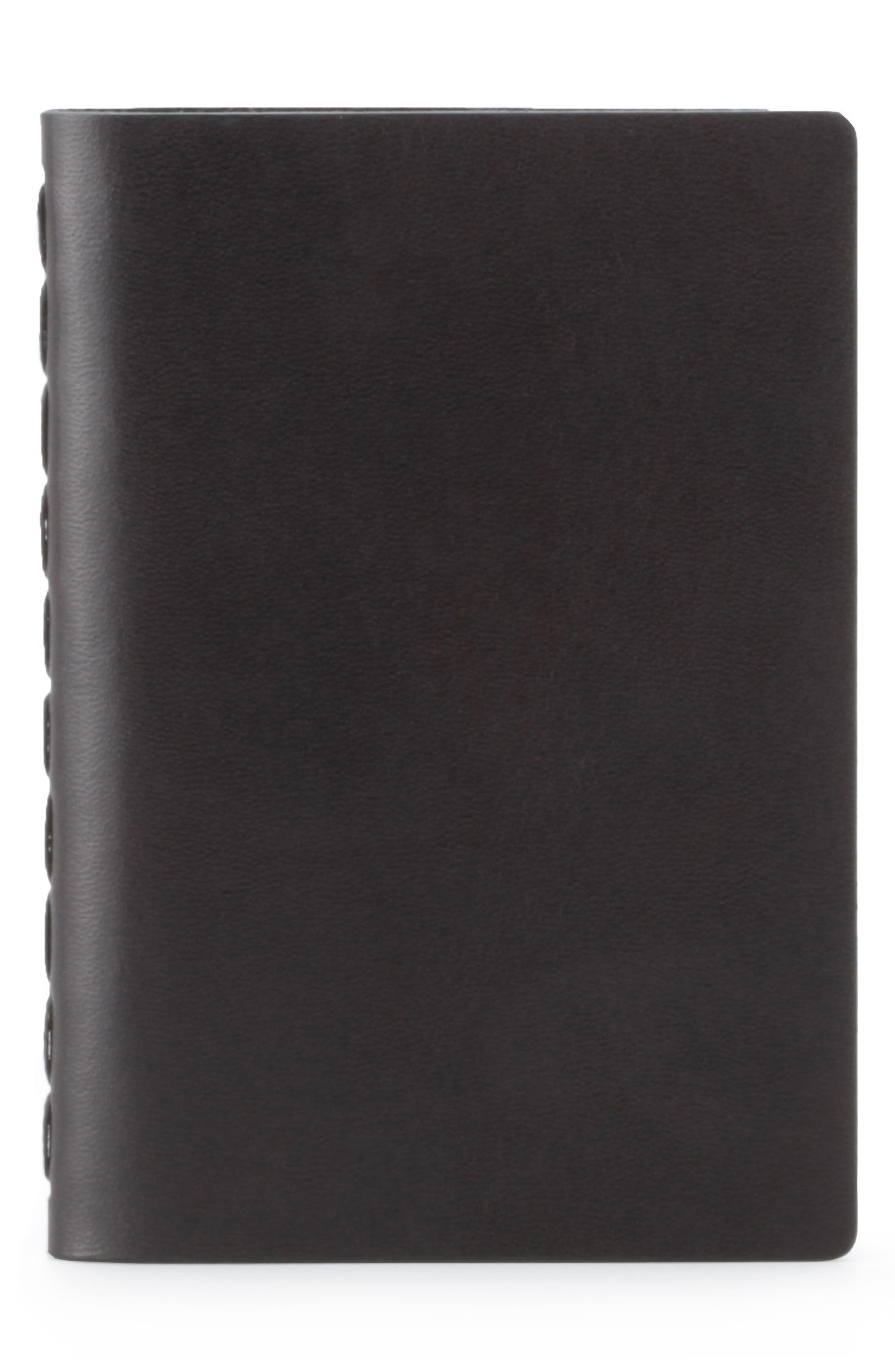 Small Leather Notebook,                             Main thumbnail 1, color,                             JET