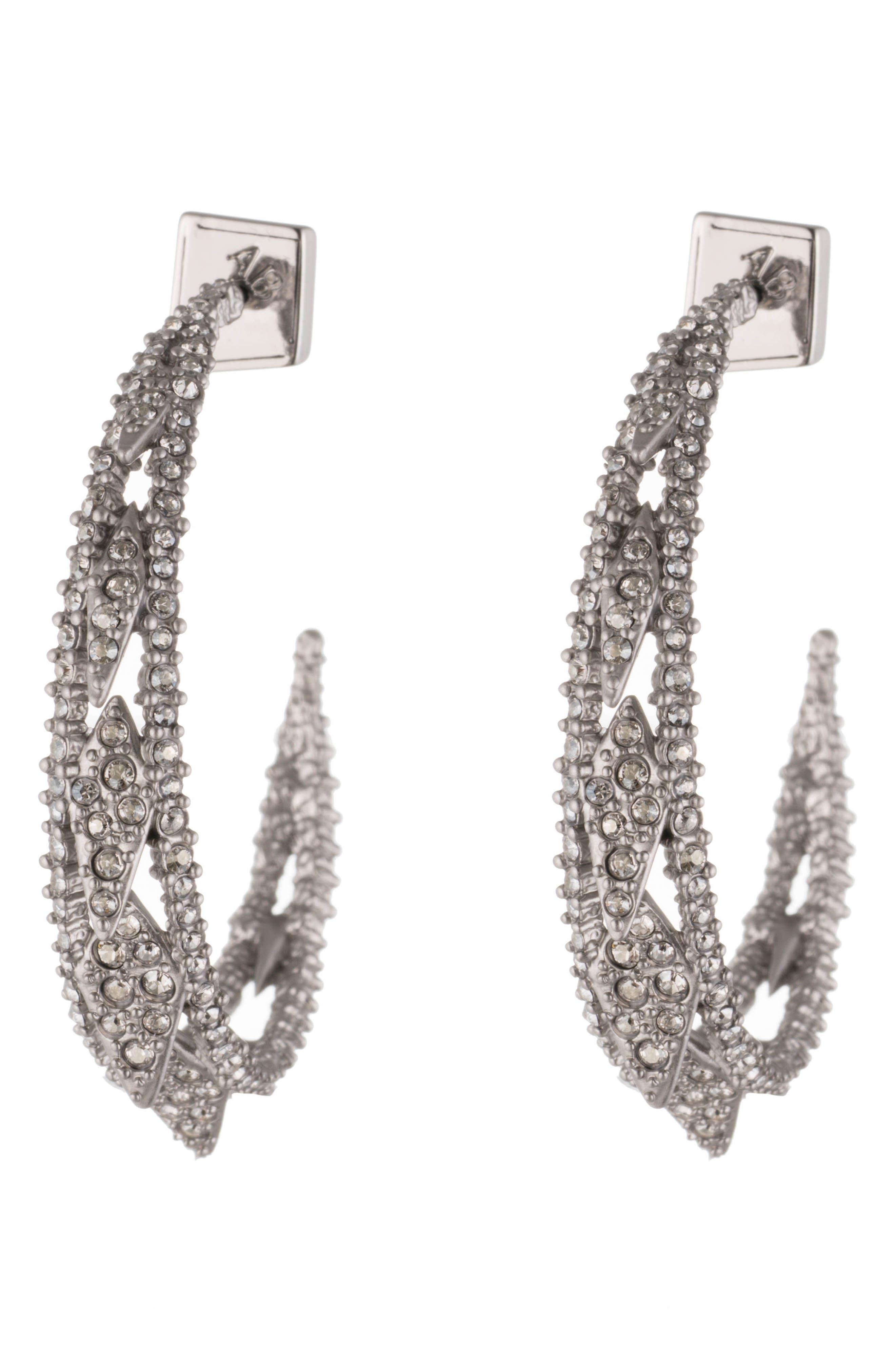 Crystal Encrusted Hook Earrings,                             Main thumbnail 1, color,                             040