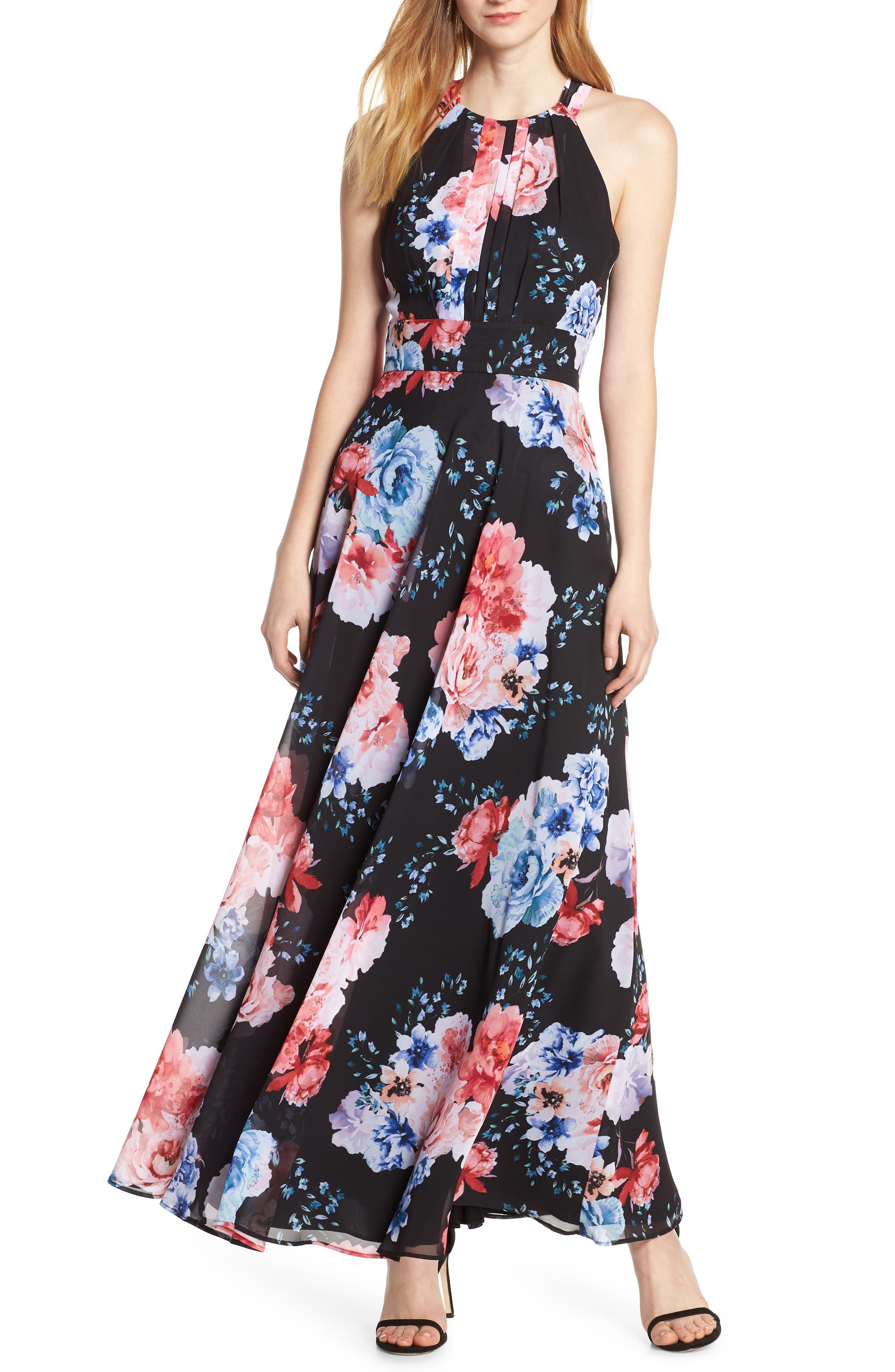 Morgan & Co. Print Pleat Bodice Chiffon Evening Dress, Black
