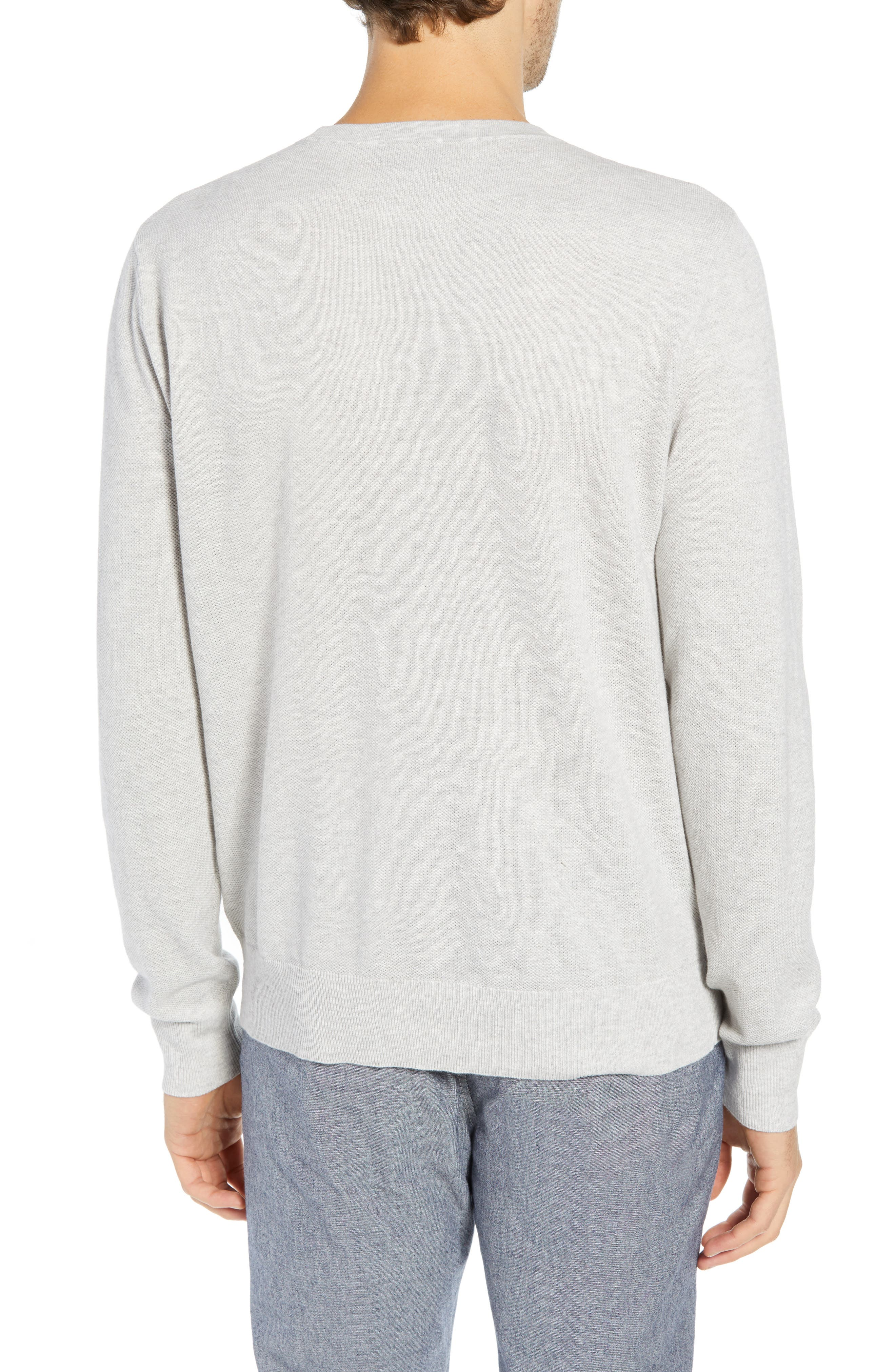 Cotton & Cashmere Piqué Crewneck Sweater,                             Alternate thumbnail 2, color,                             HEATHER SILVER