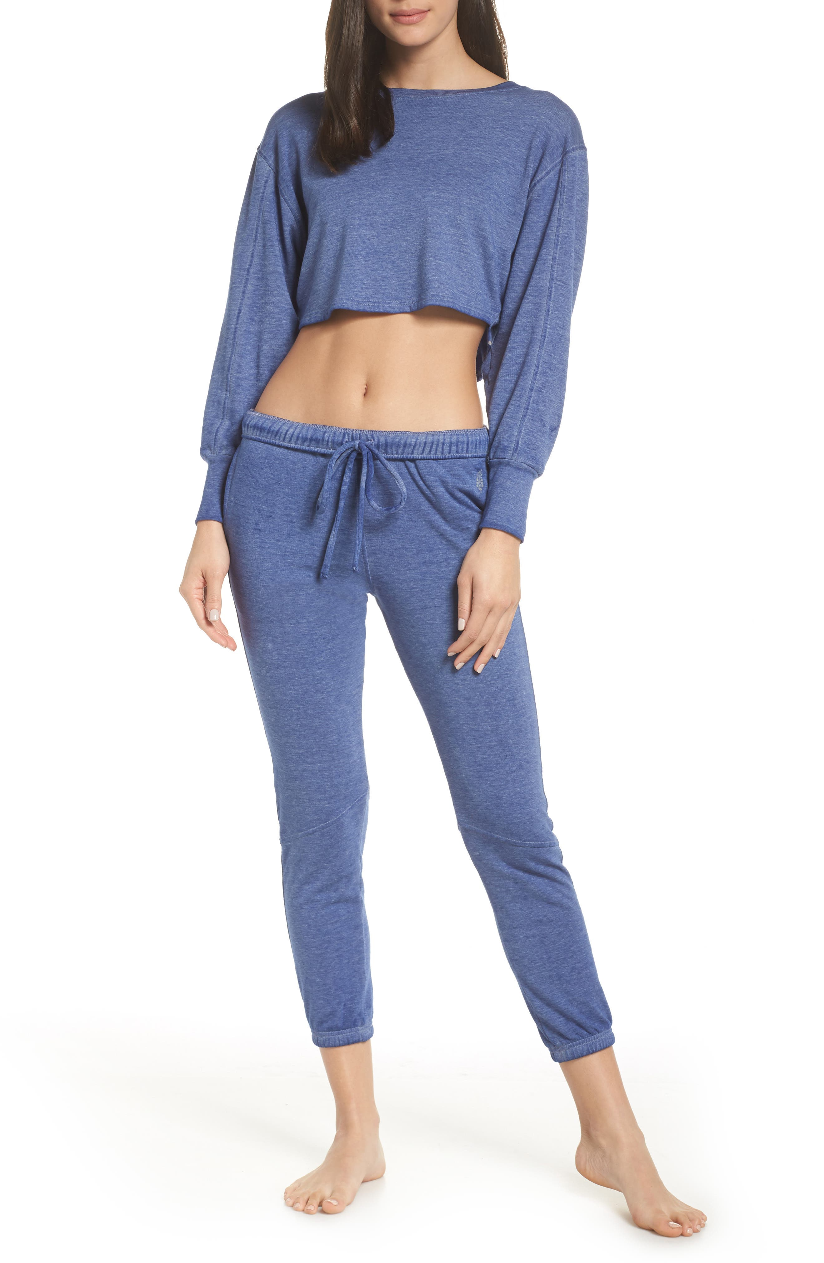 Free People FP Movement Zuma Crop Jogger Pants,                             Alternate thumbnail 8, color,                             BLUE