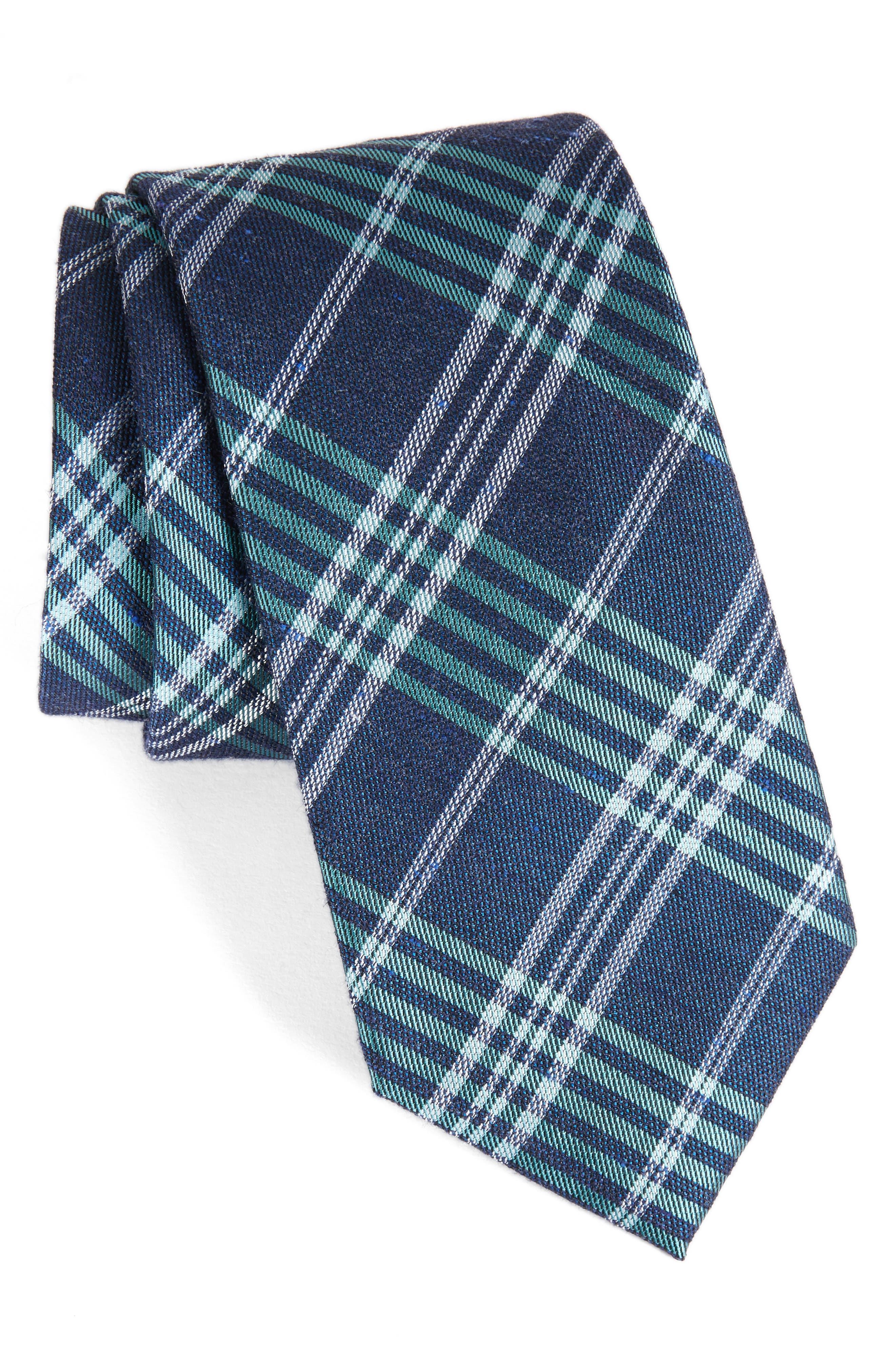 School Plaid Silk & Cotton Tie,                         Main,                         color, 300
