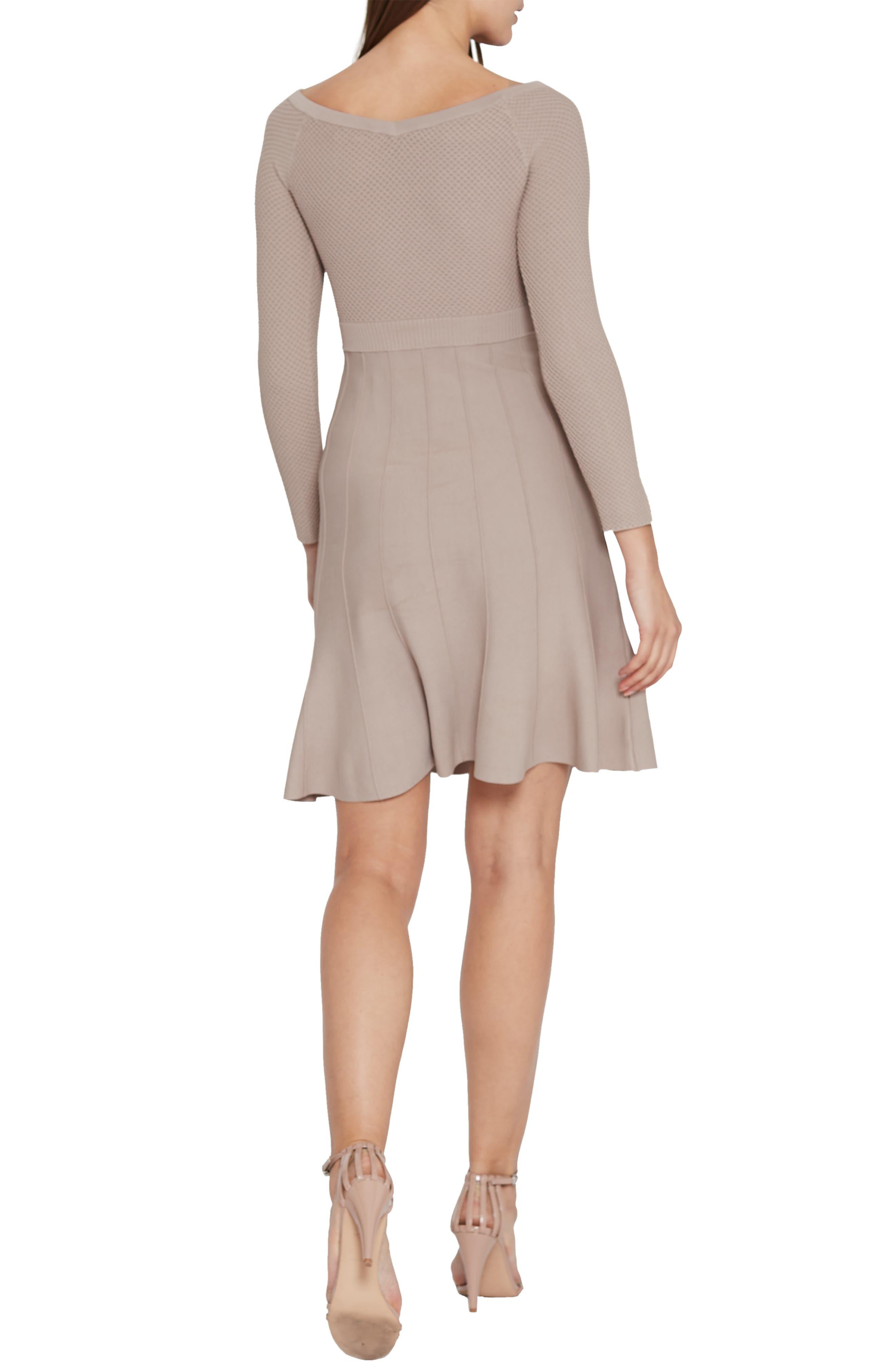 Astra Textured Skater Dress,                             Alternate thumbnail 2, color,                             NEUTRAL