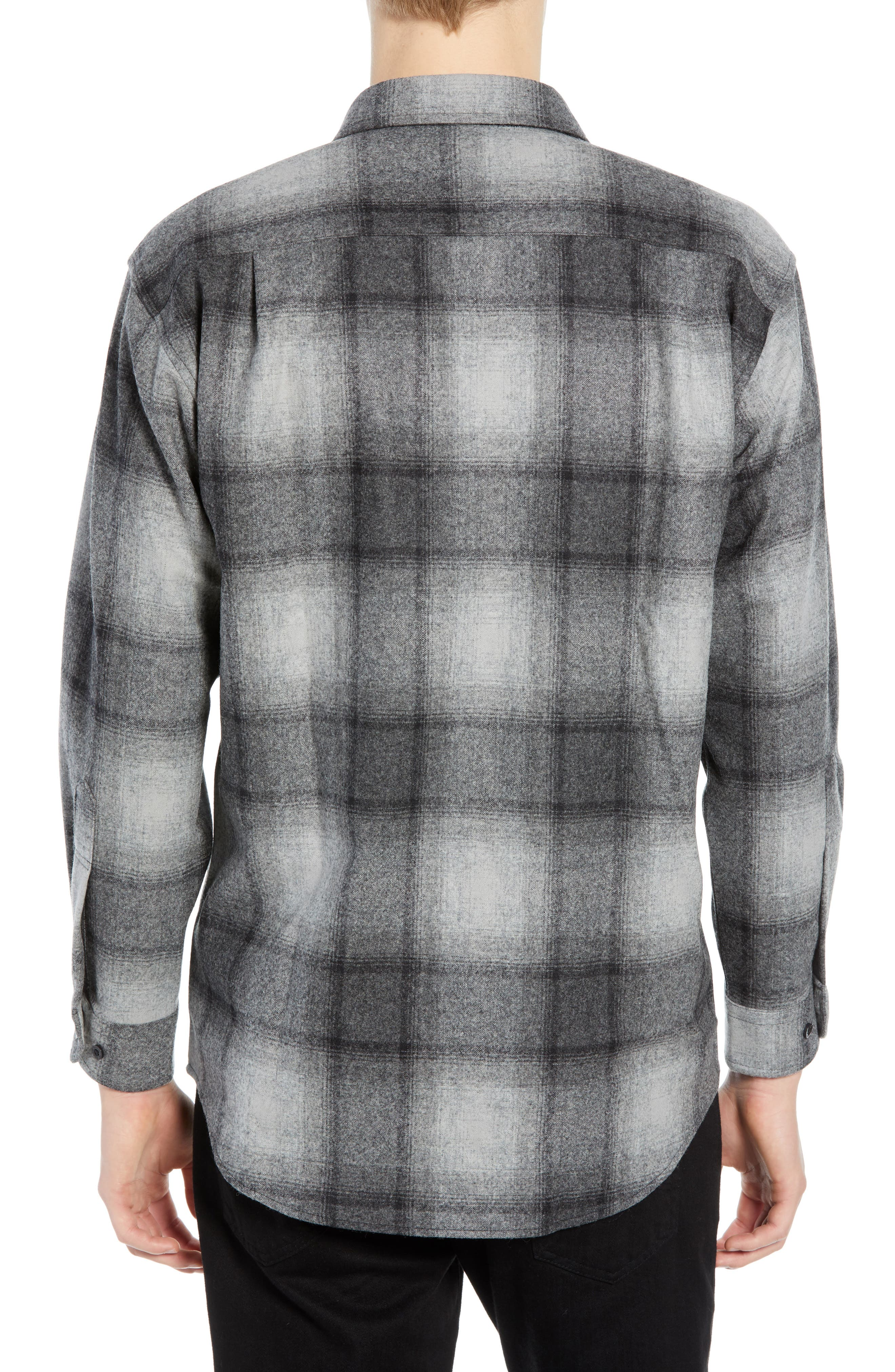 Lodge Wool Flannel Shirt,                             Alternate thumbnail 3, color,                             BLACK/ GREY MIX OMBRE