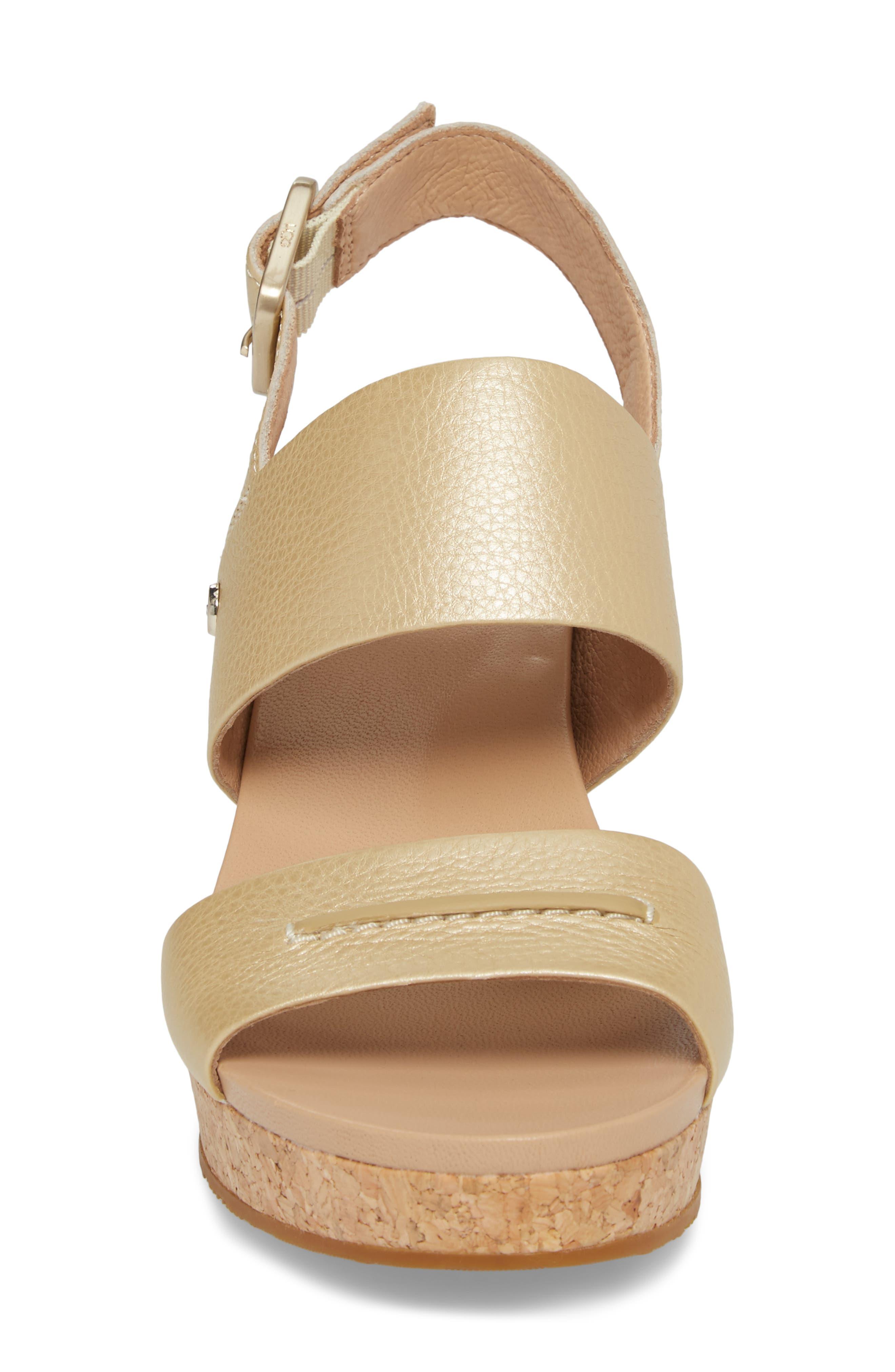 UGG<SUP>®</SUP>,                             Elena II Metallic Platform Wedge Sandal,                             Alternate thumbnail 4, color,                             710