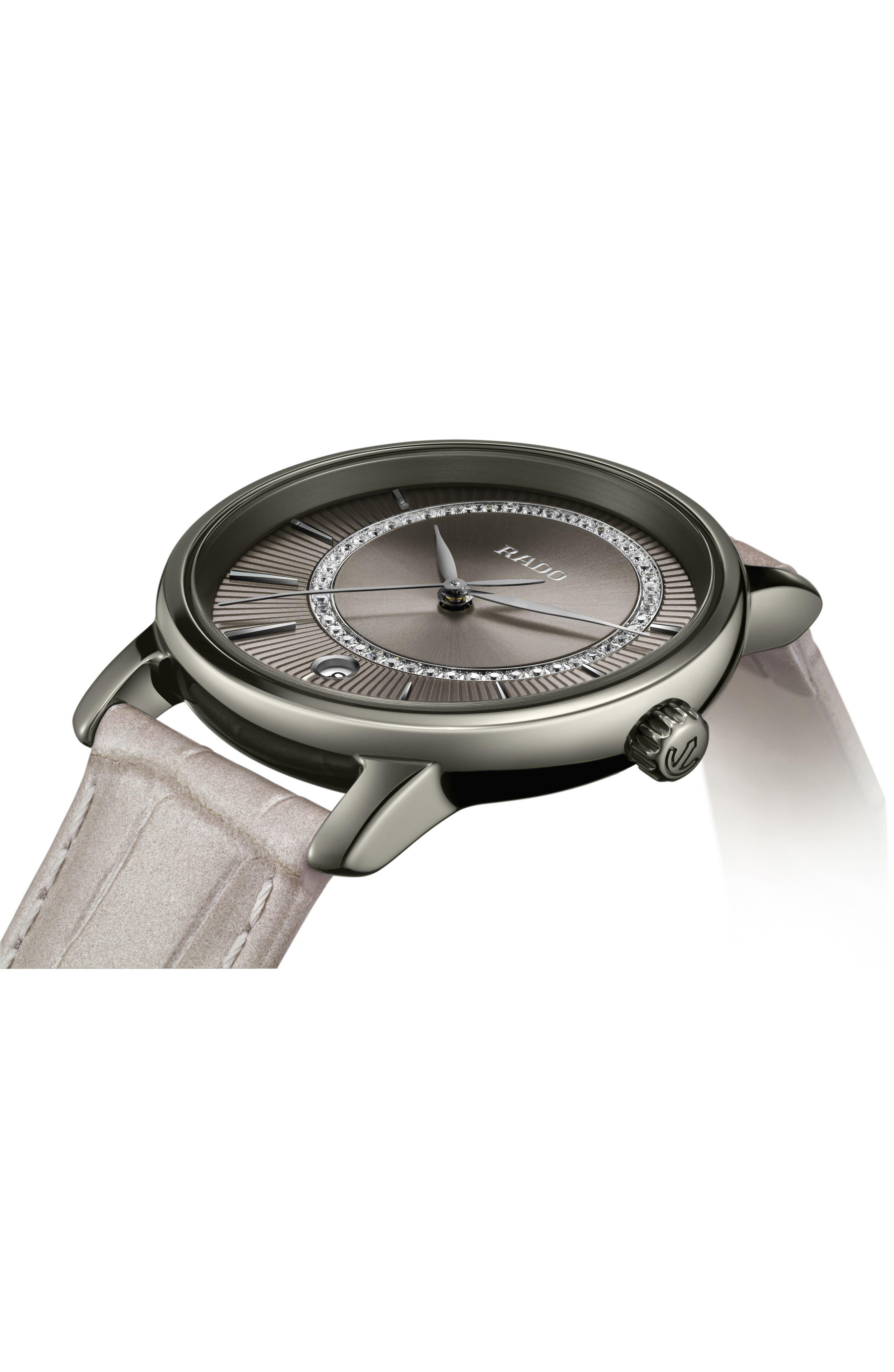 DiaMaster Diamond Leather Strap Watch, 33mm,                             Alternate thumbnail 3, color,                             GREY/ TITANIUM