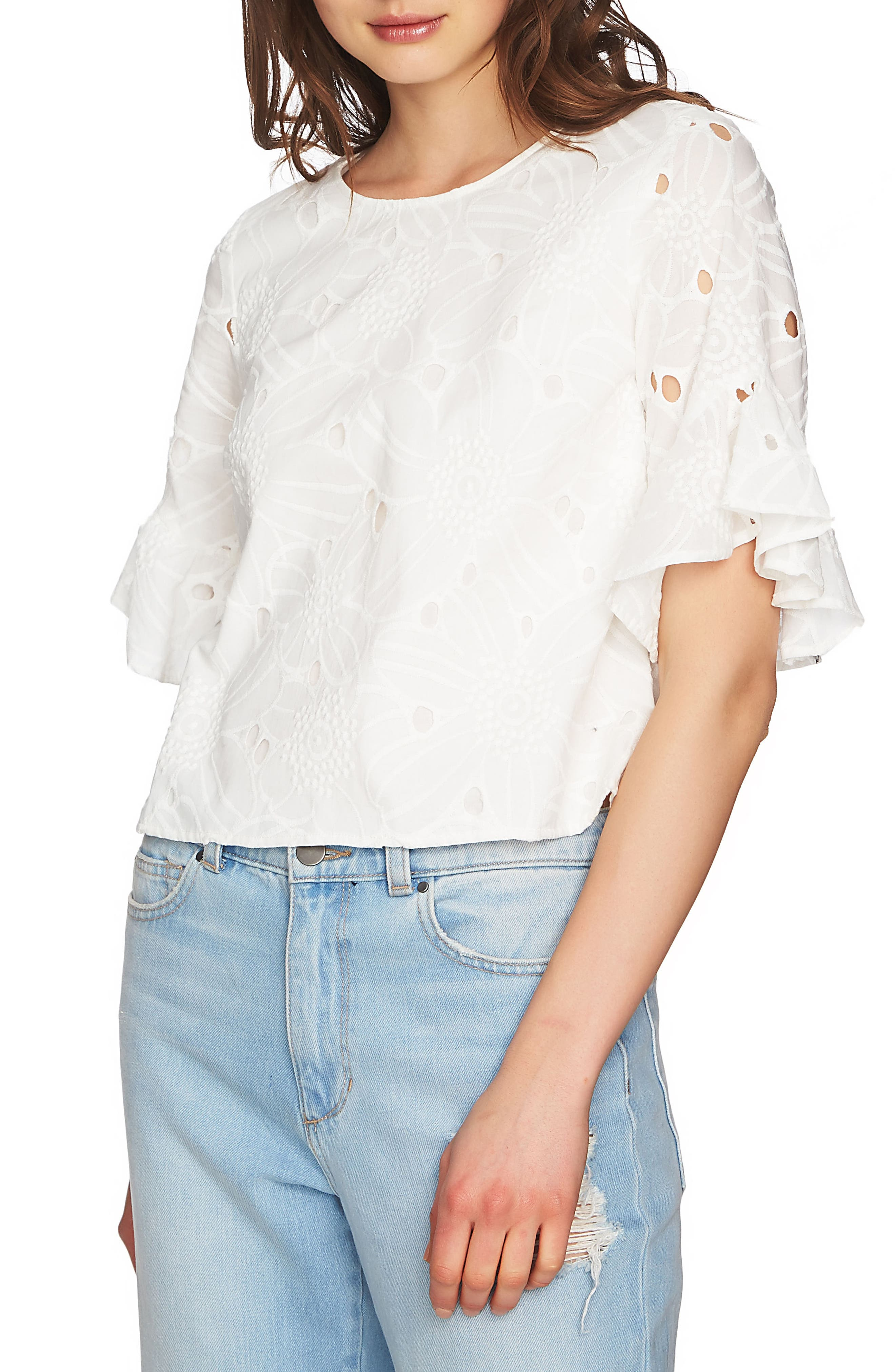 Embroidered Ruffle Eyelet Top,                             Alternate thumbnail 3, color,                             903