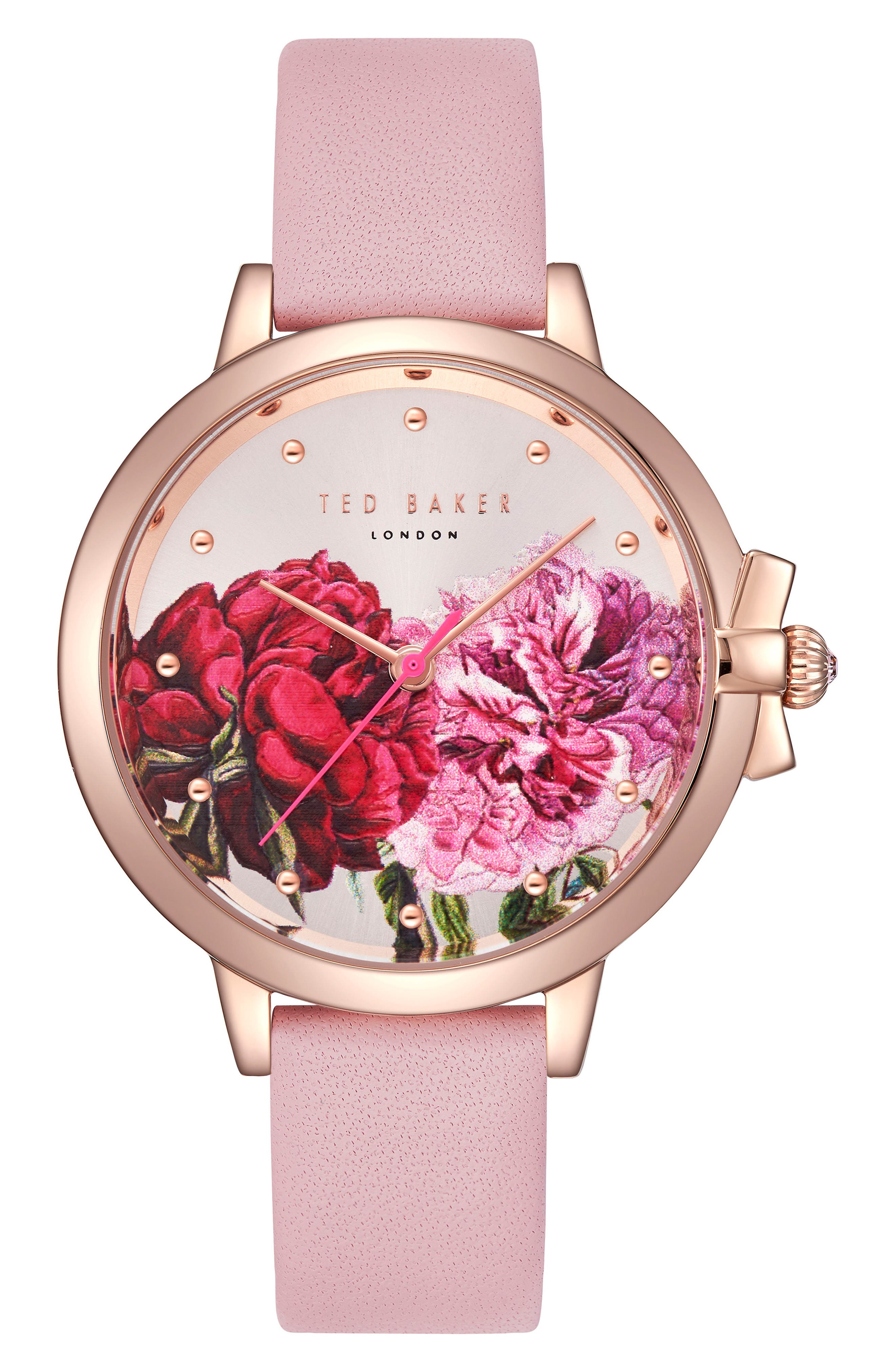 Leather Strap Watch, 36mm,                         Main,                         color, PINK/ PRINTED/ ROSE GOLD