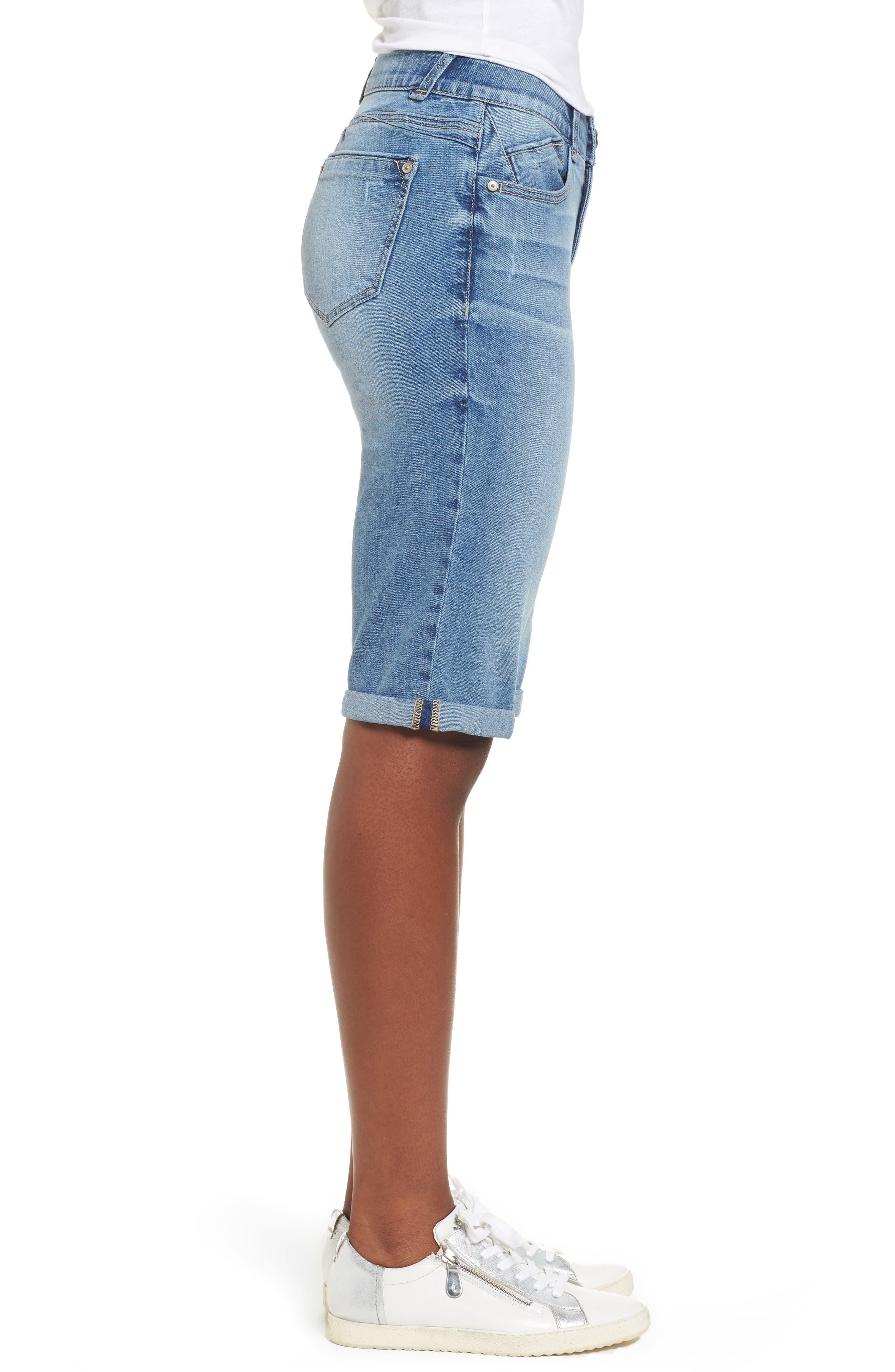 Ab-solution Cuffed Denim Shorts,                             Alternate thumbnail 3, color,                             LIGHT BLUE